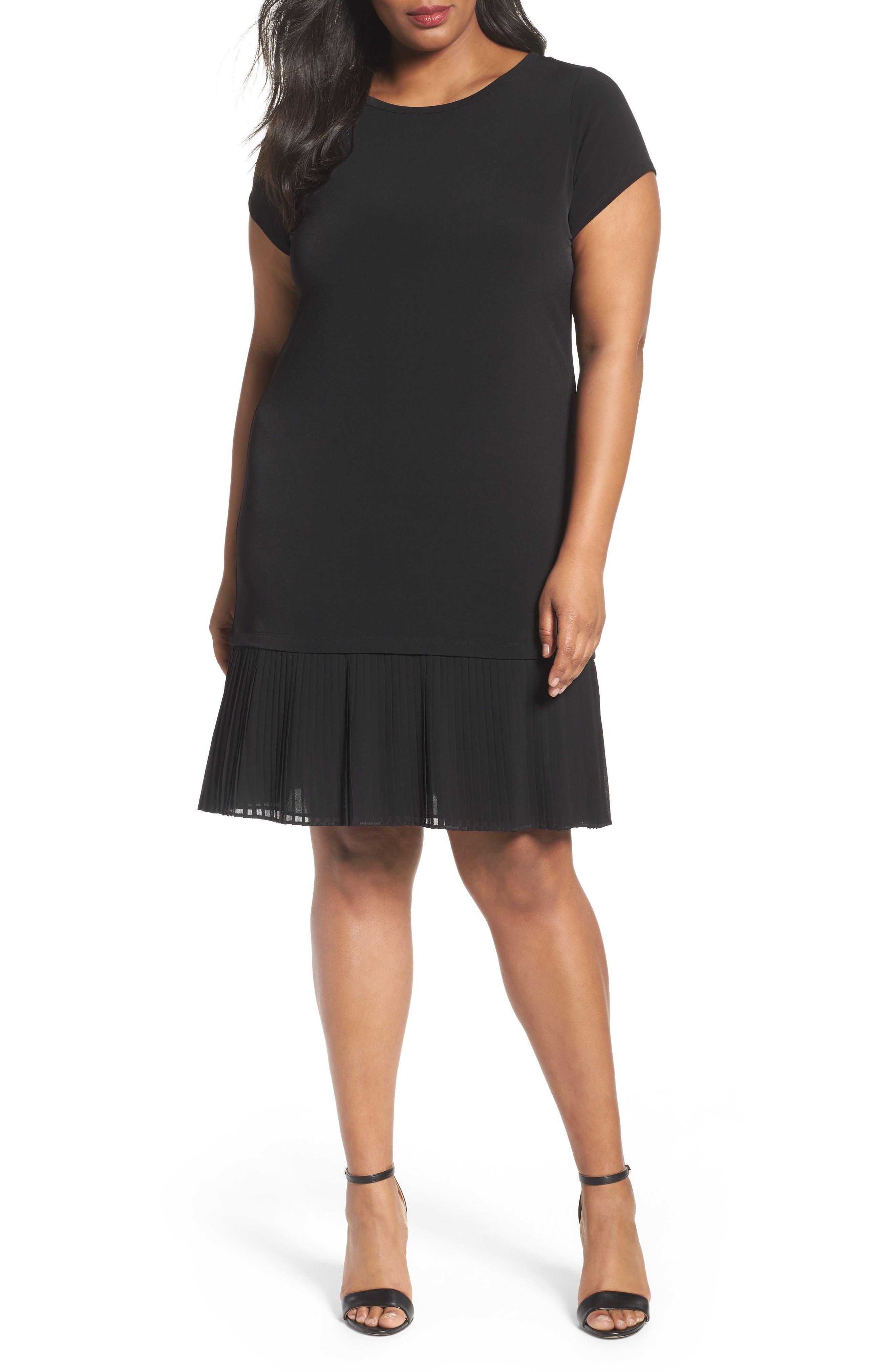 Pleat Chiffon Hem Jersey Dress,                             Main thumbnail 1, color,                             BLACK