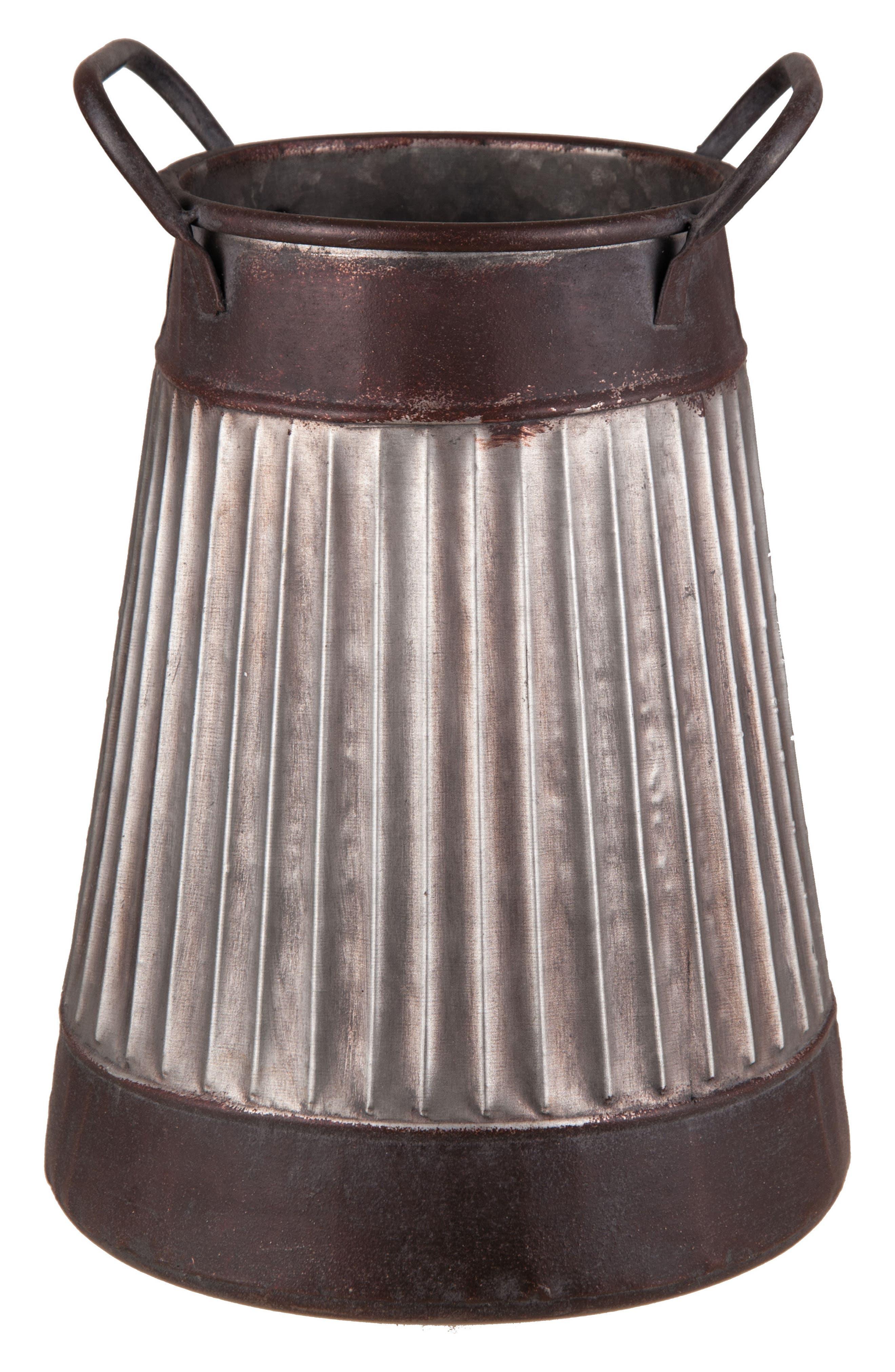 Dillon Corrugated Metal Vase,                             Main thumbnail 1, color,                             METAL
