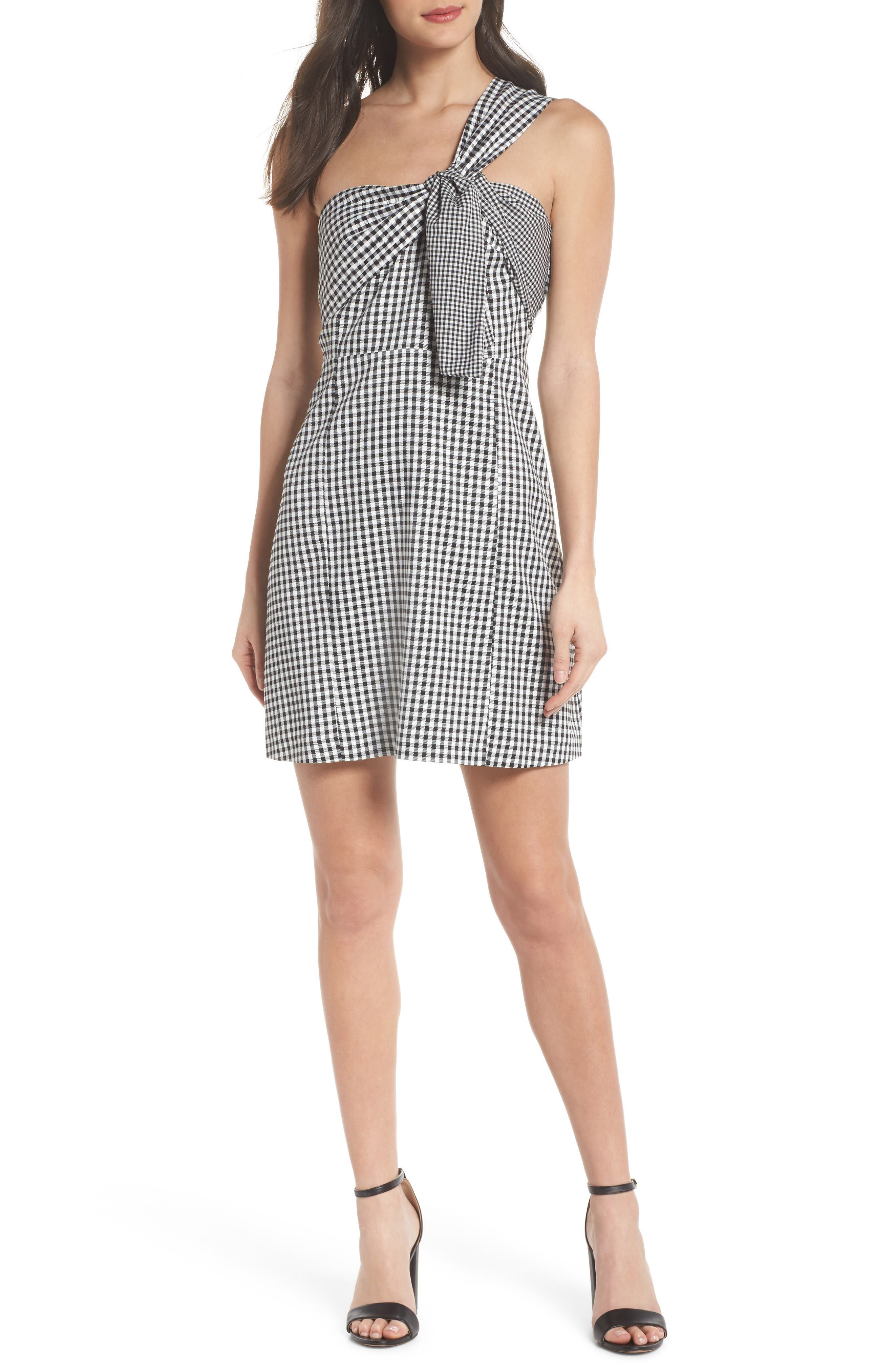 One-Shoulder Gingham Dress,                             Alternate thumbnail 5, color,                             001