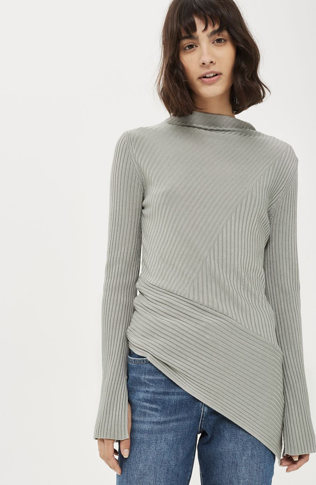 Asymmetrical Ribbed Sweater,                             Alternate thumbnail 5, color,