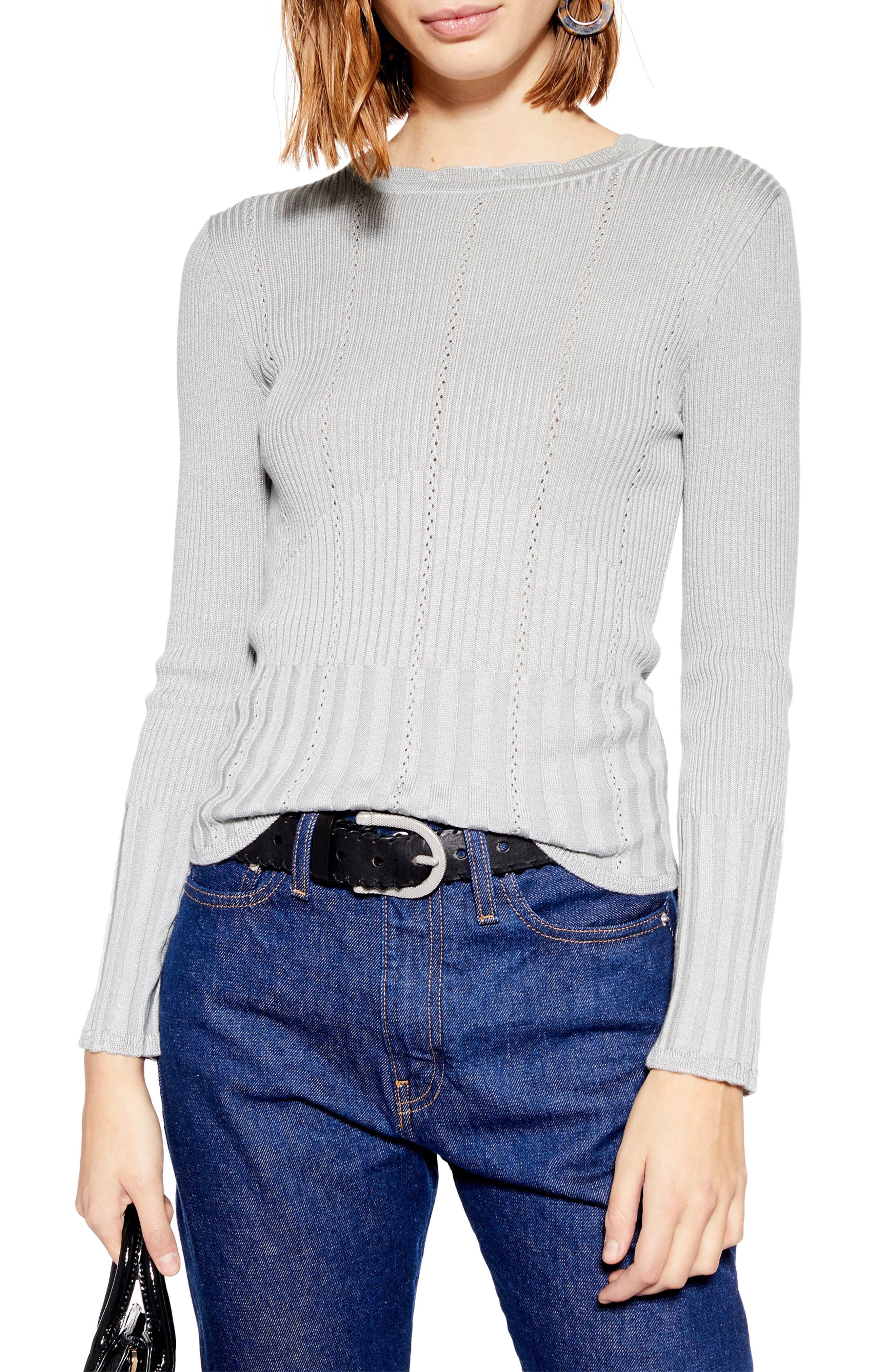 Pointelle Ribbed Top, Main, color, GREY