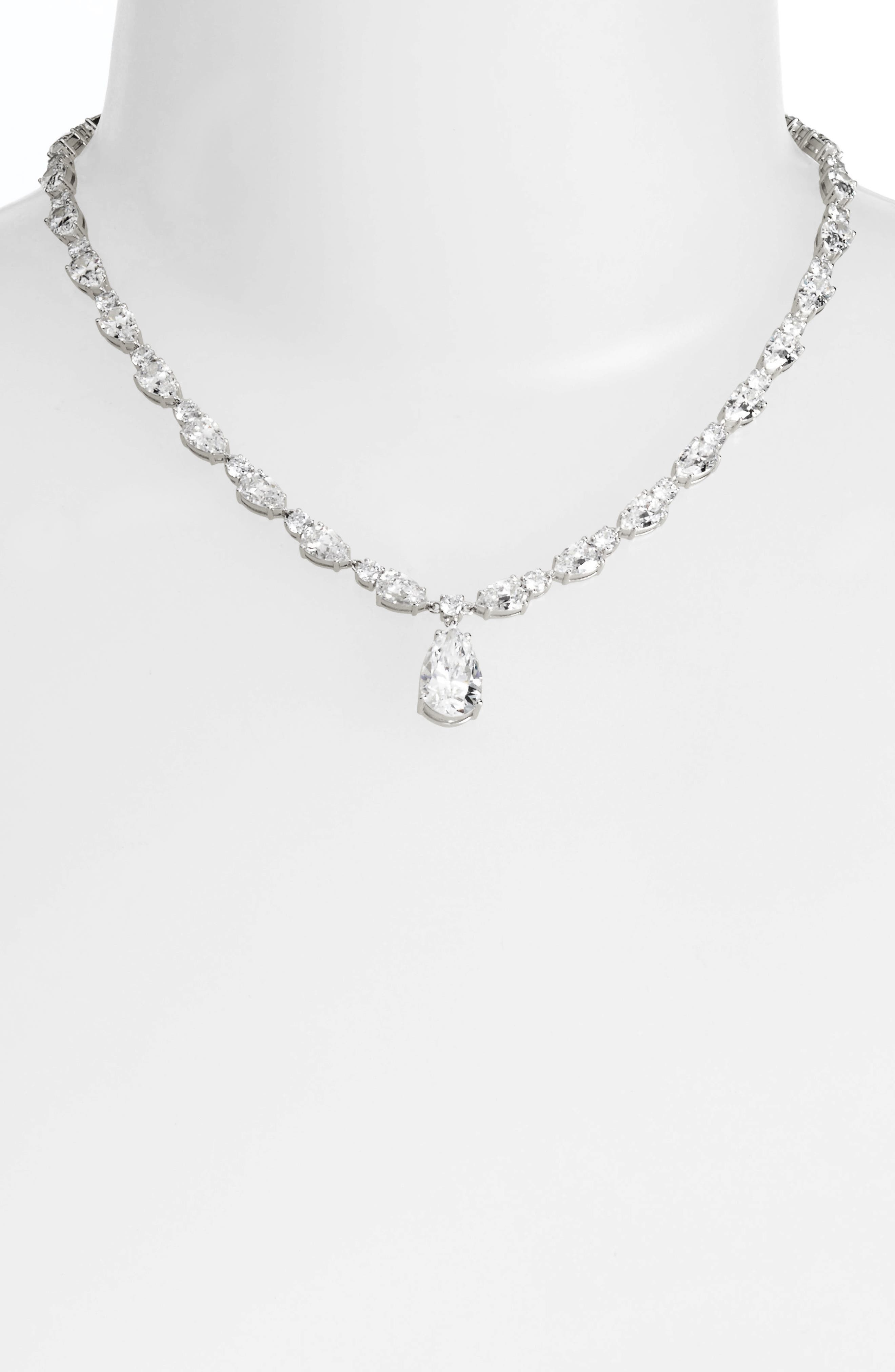 All Around Cubic Zirconia Pendant Necklace,                             Alternate thumbnail 2, color,                             SILVER