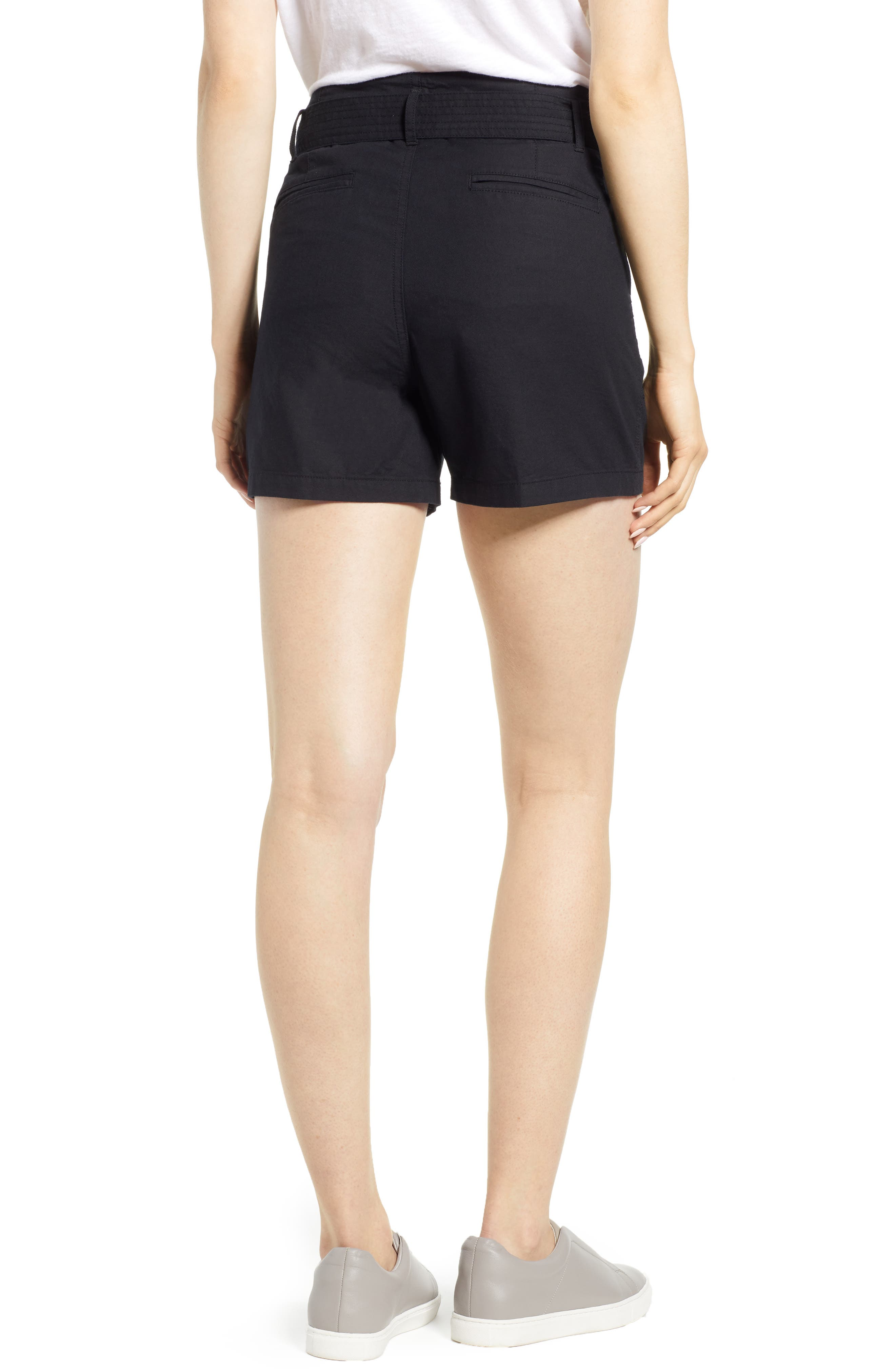 Belted Twill Shorts,                             Alternate thumbnail 2, color,                             BLACK