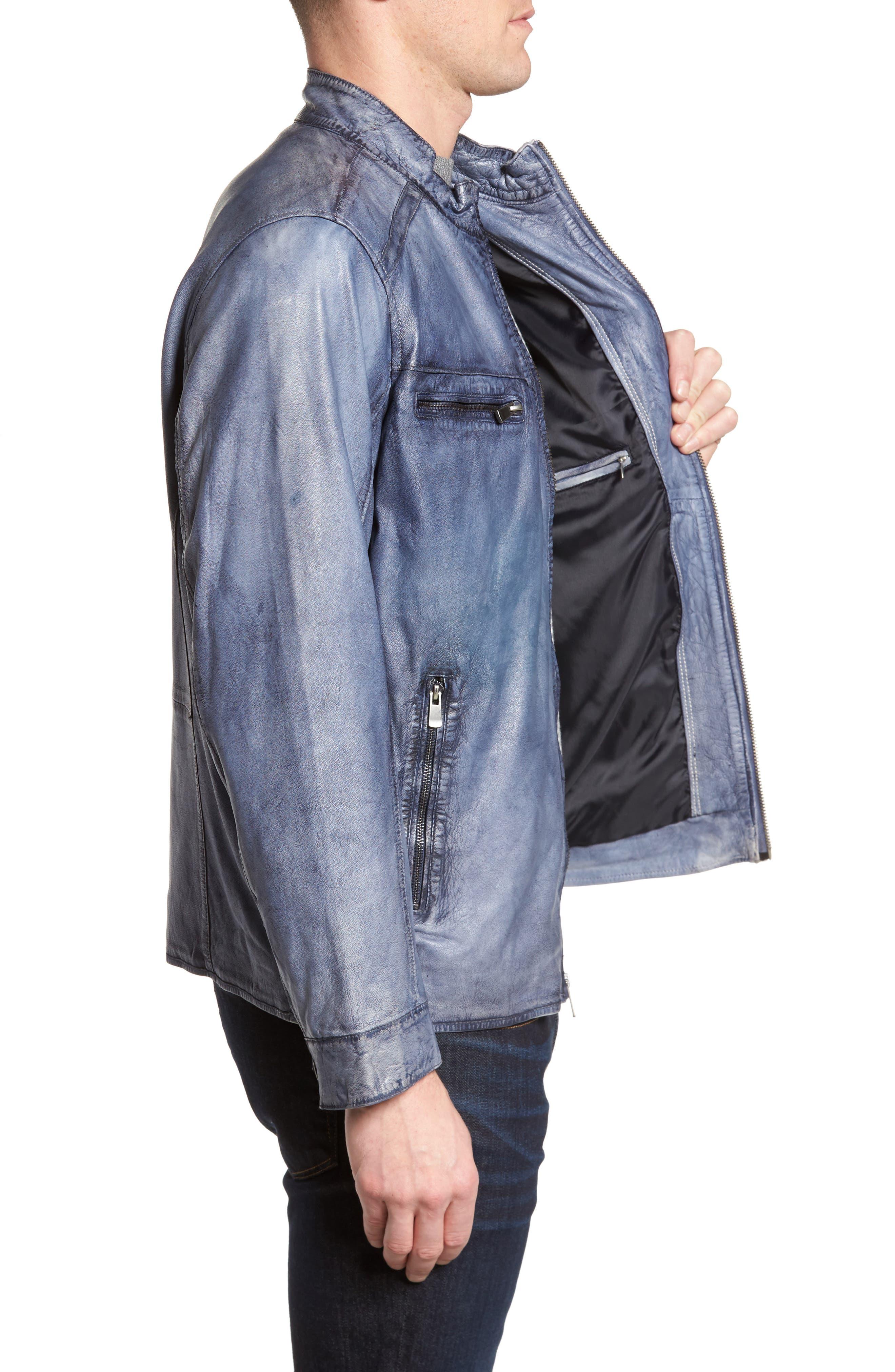 Abraded Washed Leather Jacket,                             Alternate thumbnail 3, color,                             450