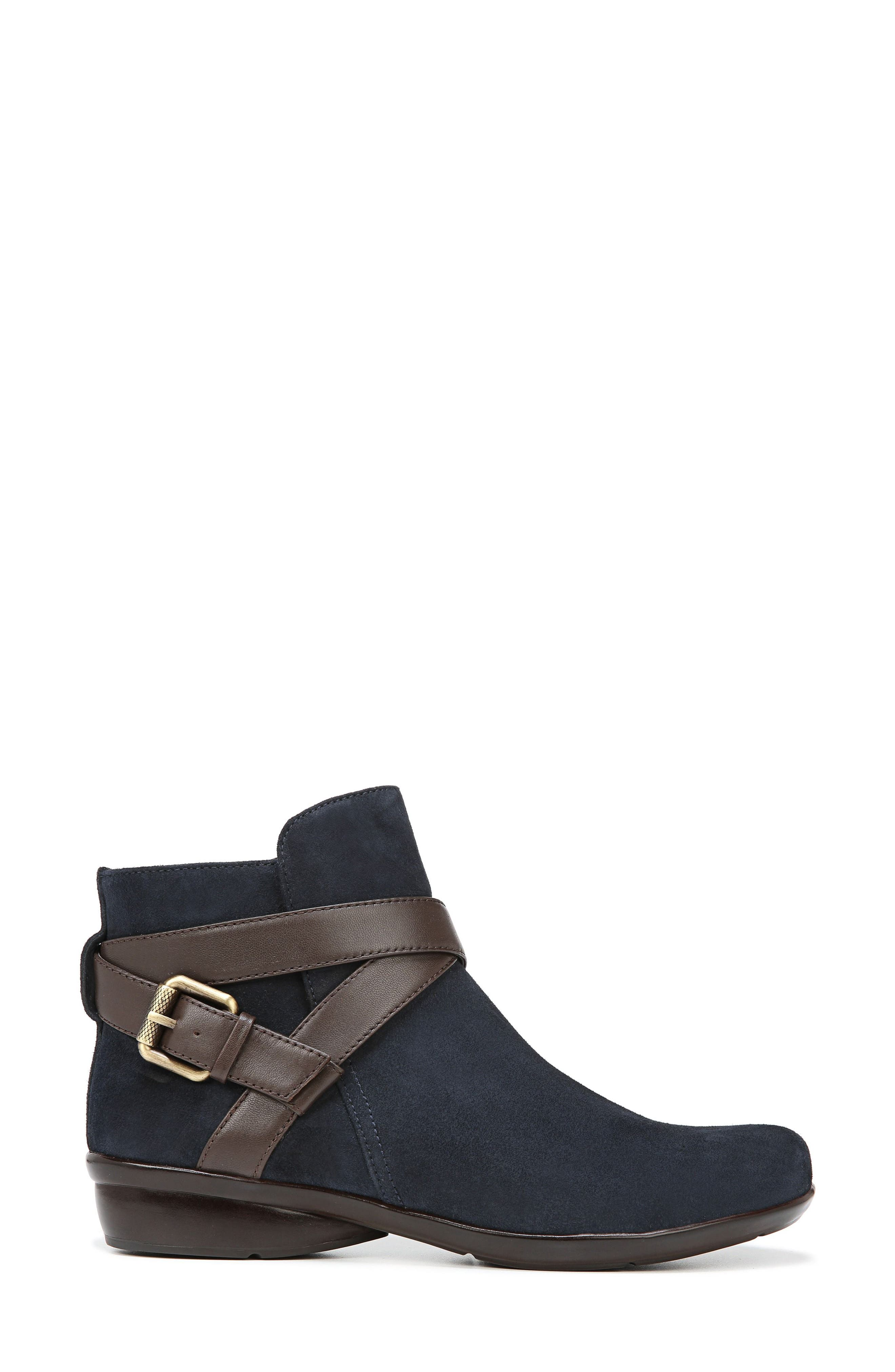 Cassandra Buckle Strap Bootie,                             Alternate thumbnail 3, color,                             NAVY/ BROWN SUEDE