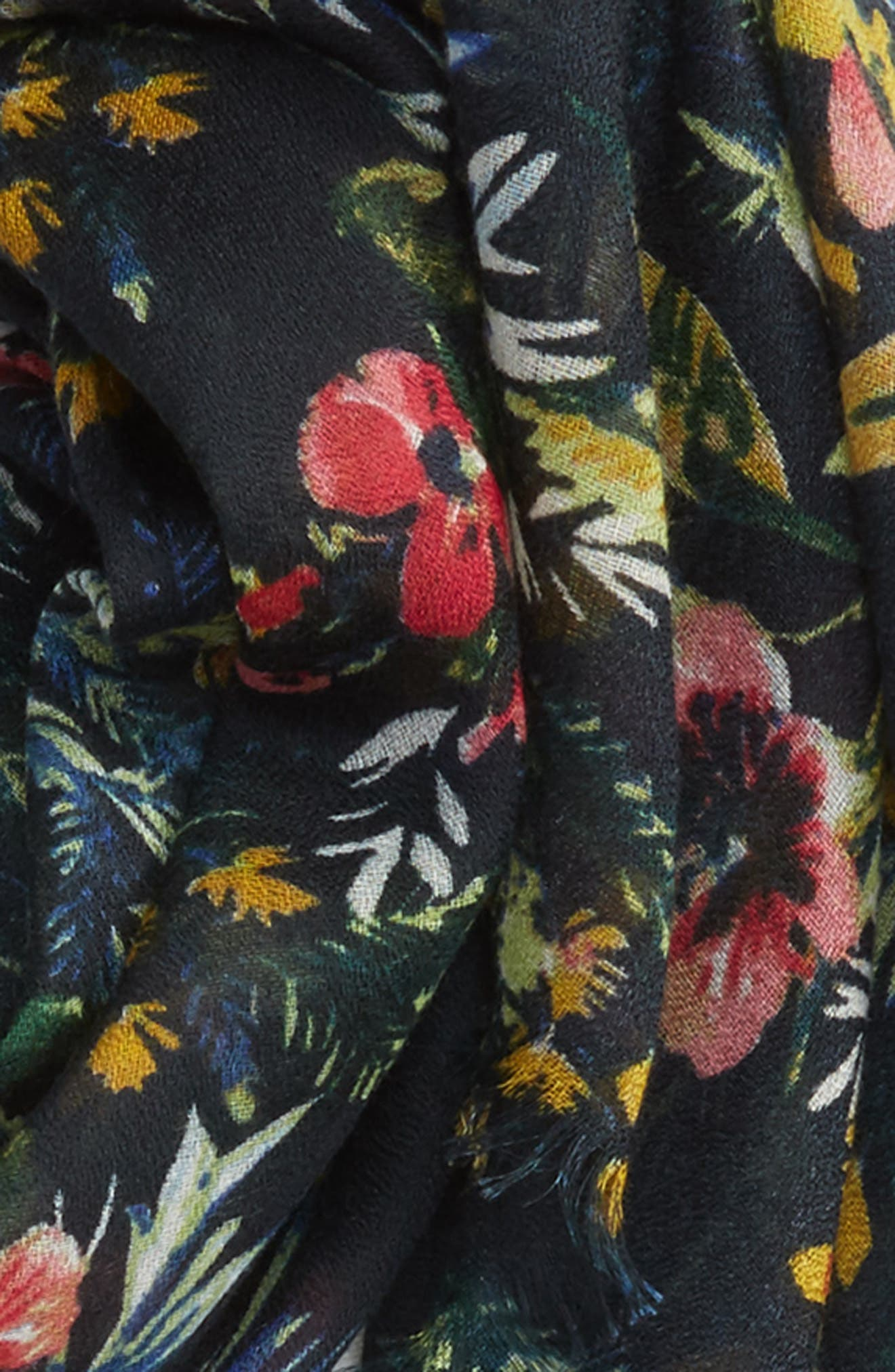 Wild Floral Scarf,                             Alternate thumbnail 3, color,                             001