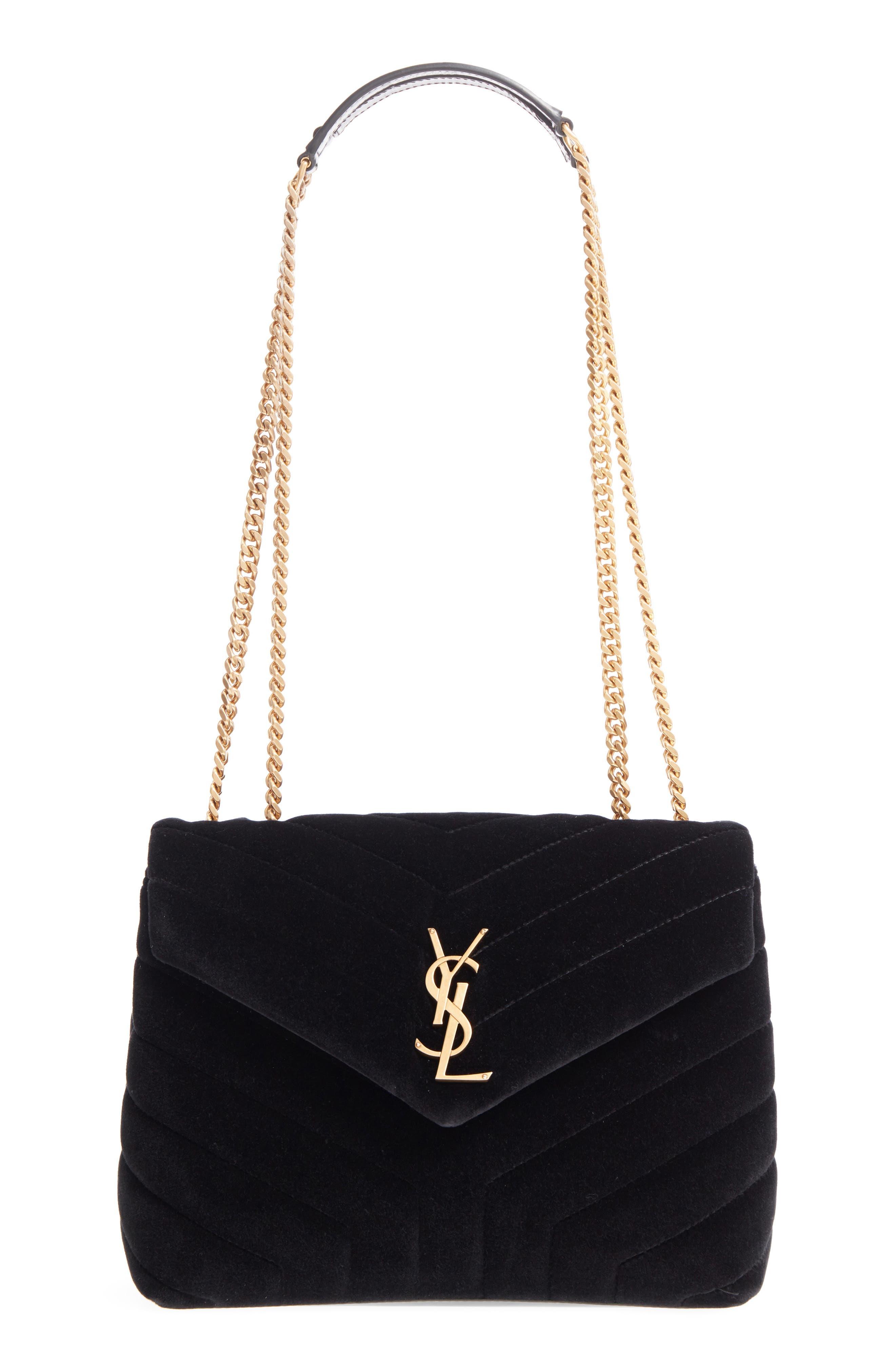 SAINT LAURENT,                             Small Loulou Velvet Shoulder Bag,                             Main thumbnail 1, color,                             NERO/ NERO/ NERO