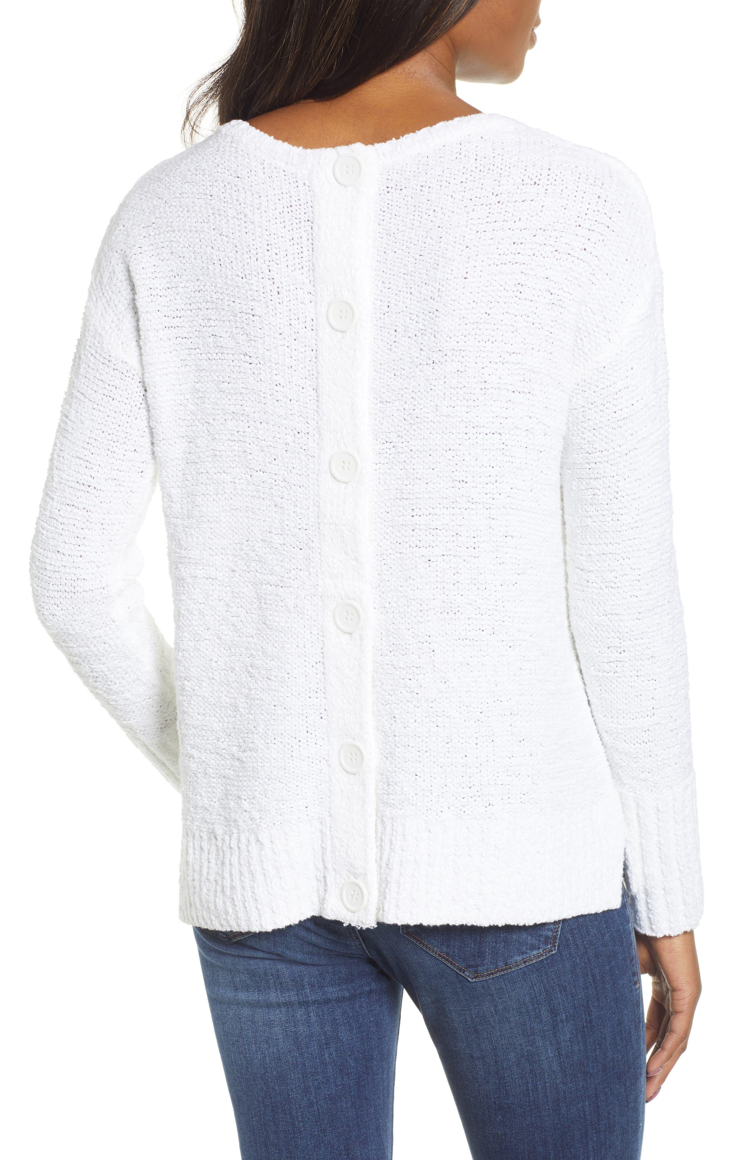 Button Back Sweater,                             Alternate thumbnail 2, color,                             WHITE