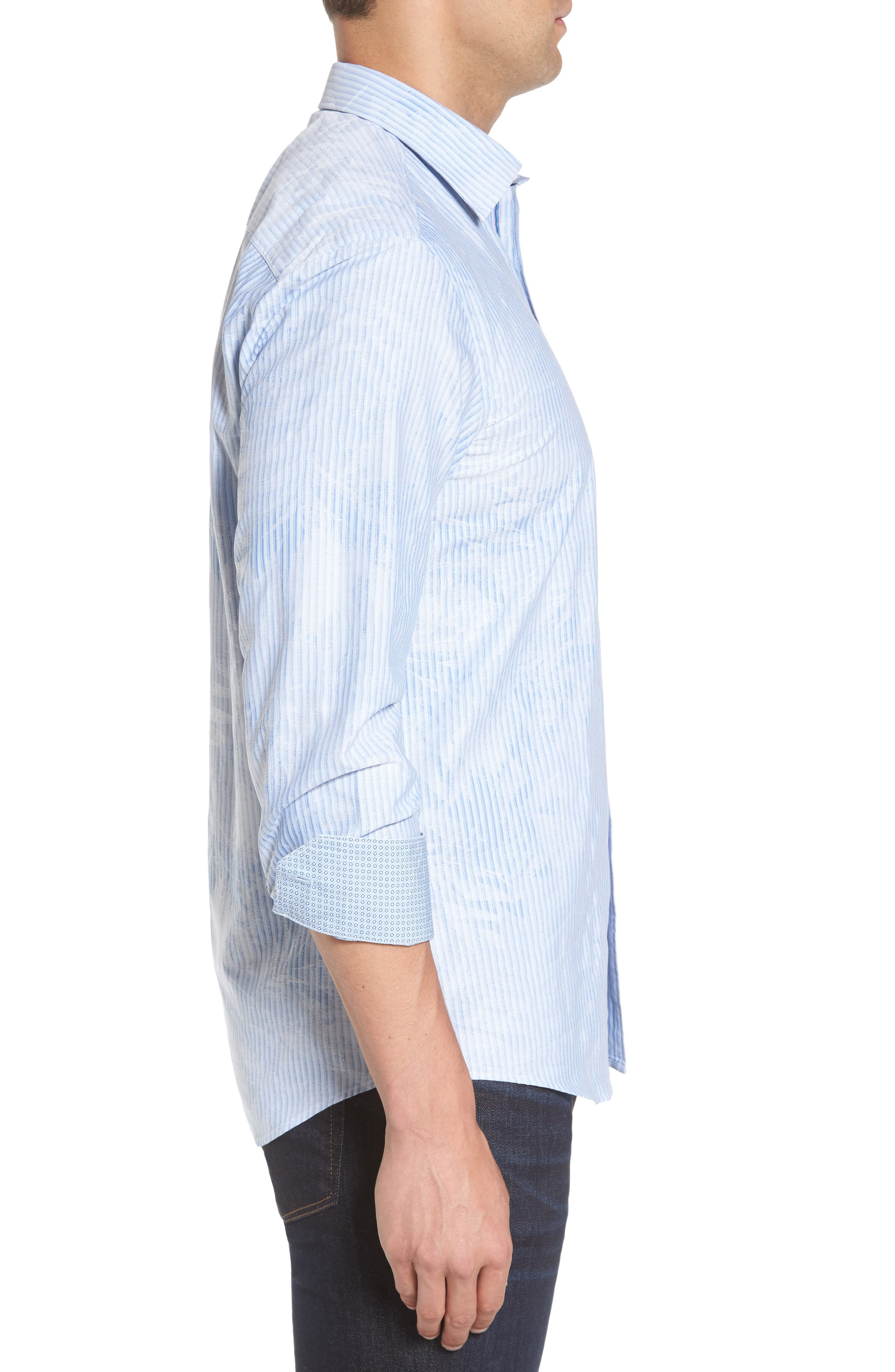 Shaped Fit Floral Stripe Sport Shirt,                             Alternate thumbnail 3, color,                             459