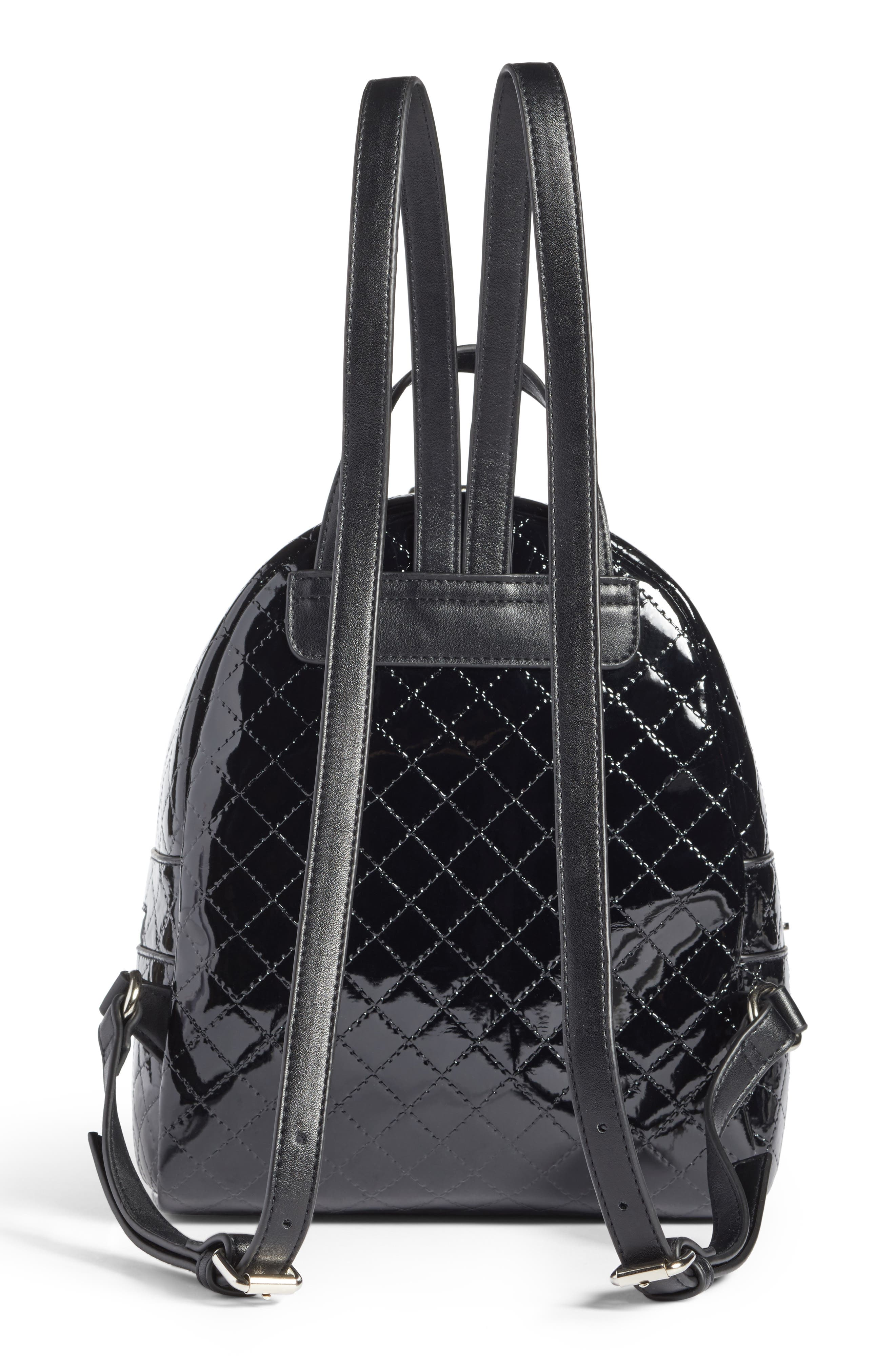 Quilted Faux Patent Backpack,                             Alternate thumbnail 3, color,                             001