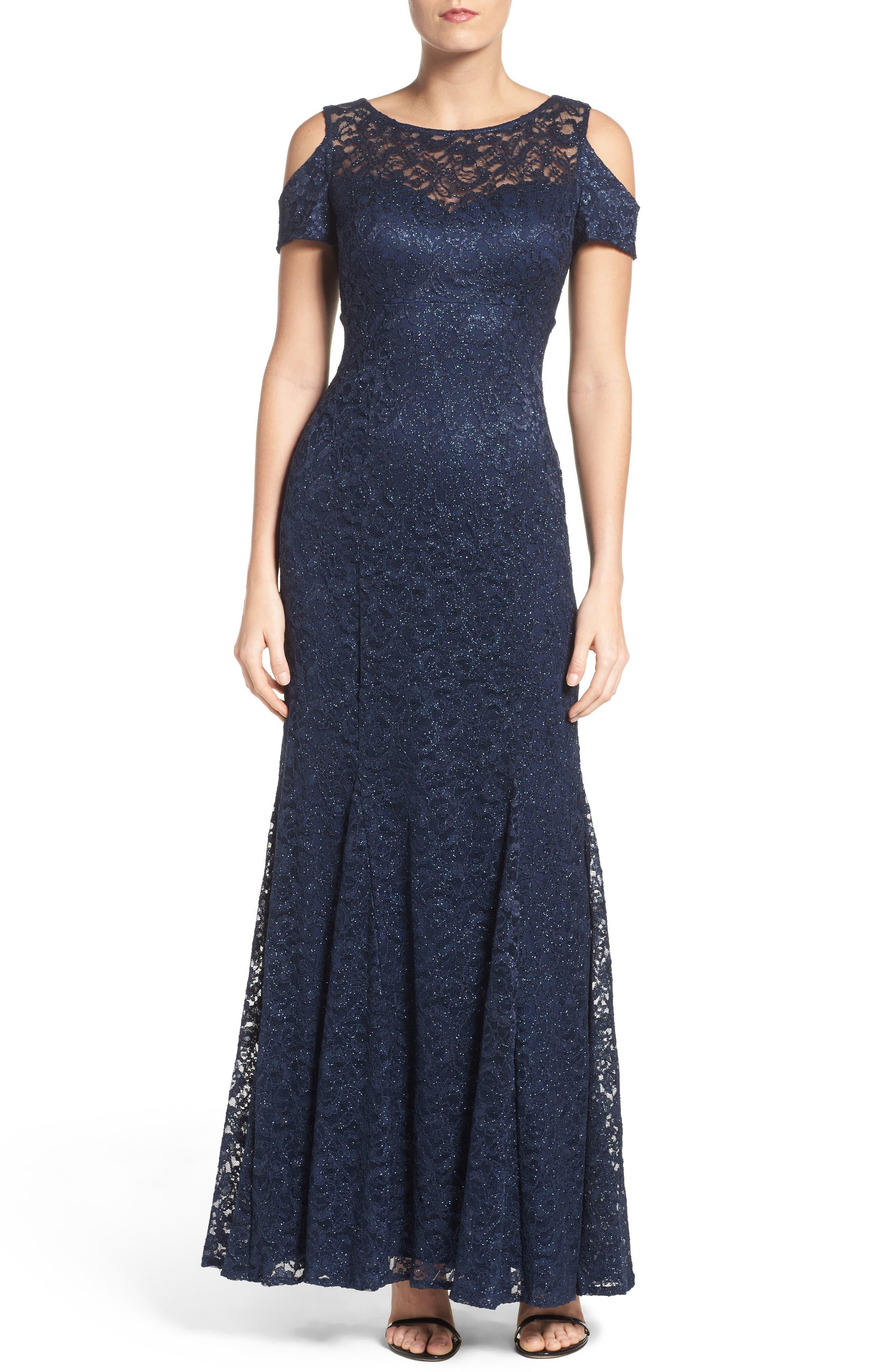Cold Shoulder Lace Gown,                             Main thumbnail 2, color,