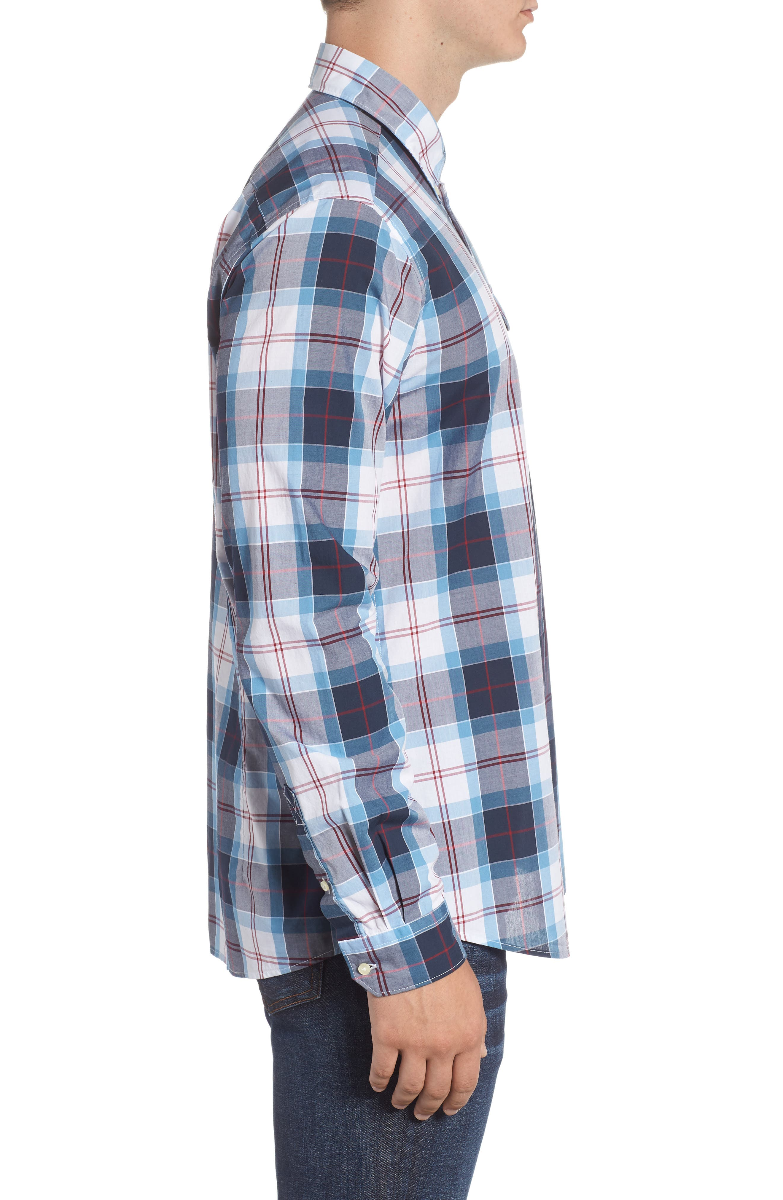 Cabin Tailored Fit Plaid Sport Shirt,                             Alternate thumbnail 4, color,                             MID BLUE