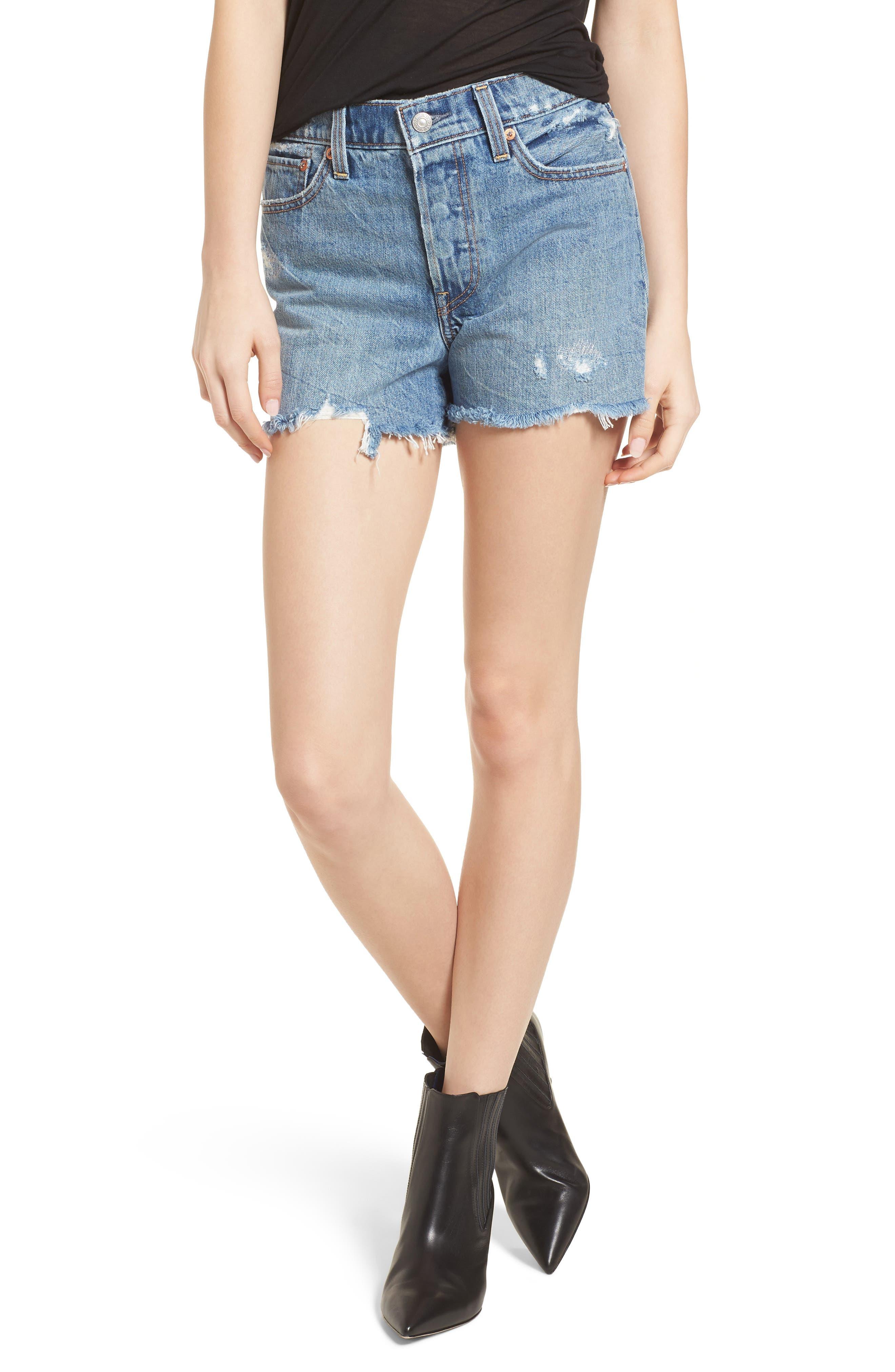 Wedgie High Waist Cutoff Denim Shorts,                         Main,                         color, 401