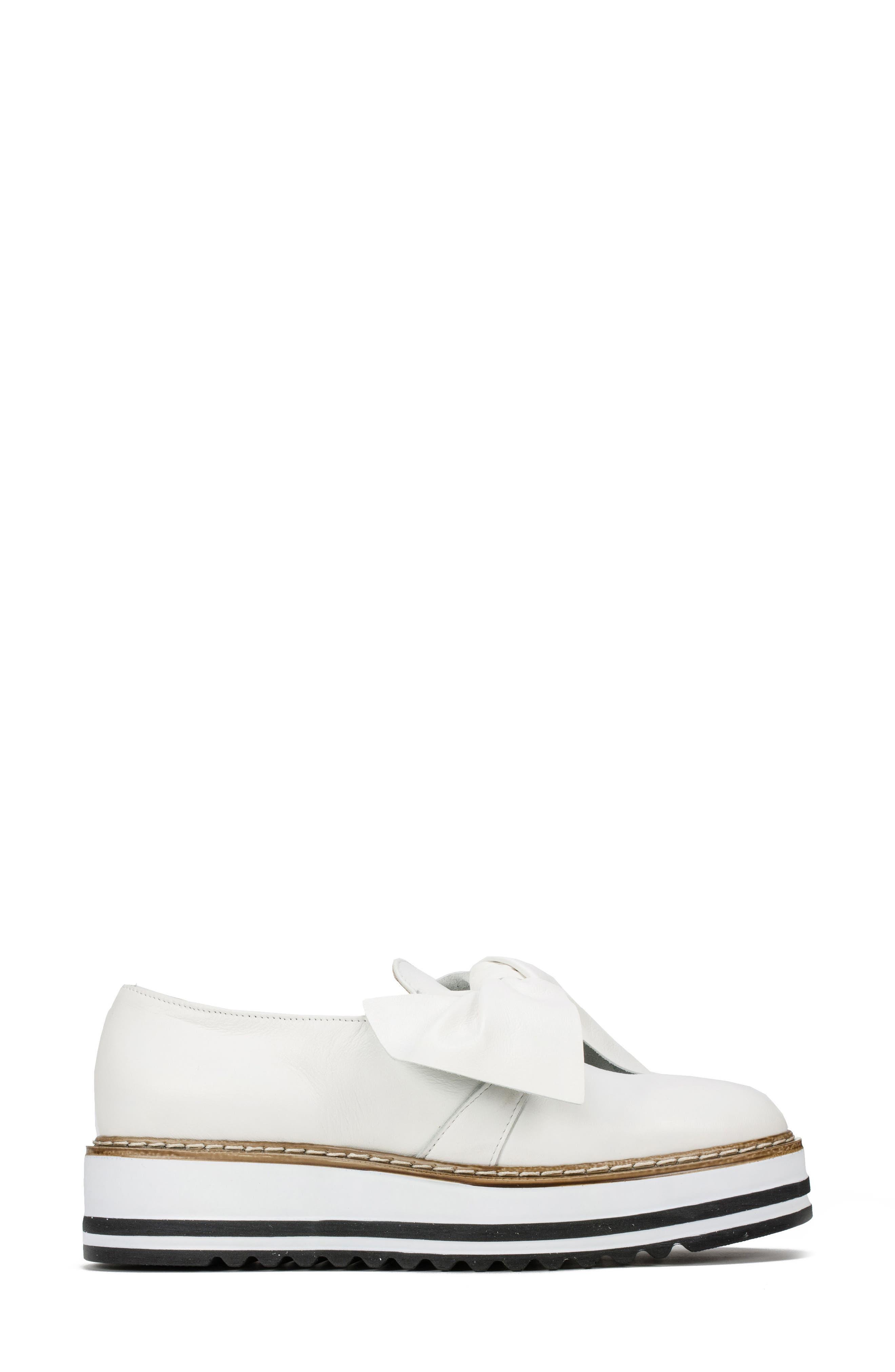 Bella Platform Loafer,                             Alternate thumbnail 3, color,                             WHITE LEATHER