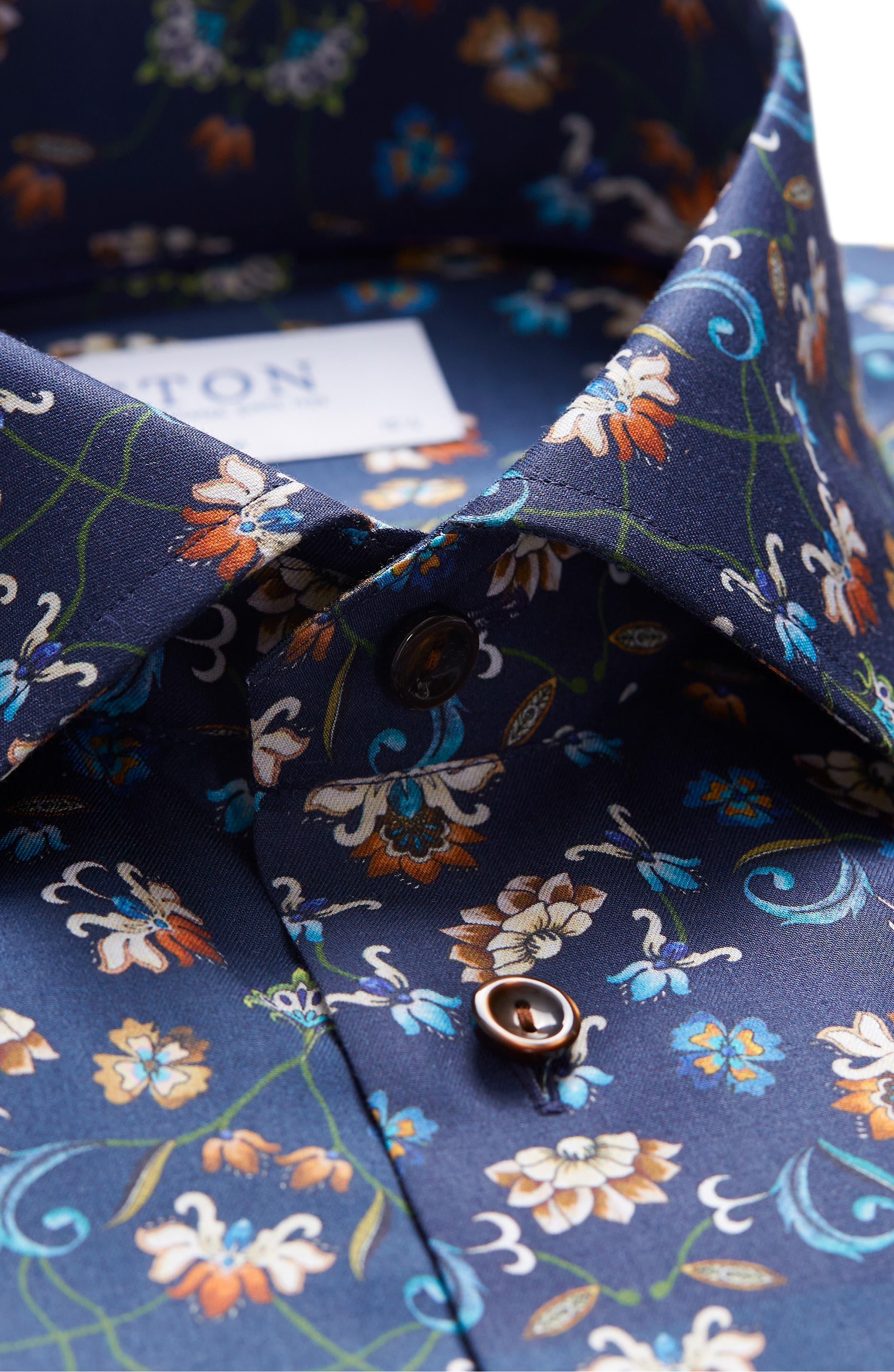 Contemporary Fit Floral Dress Shirt,                             Alternate thumbnail 3, color,                             NAVY BLUE
