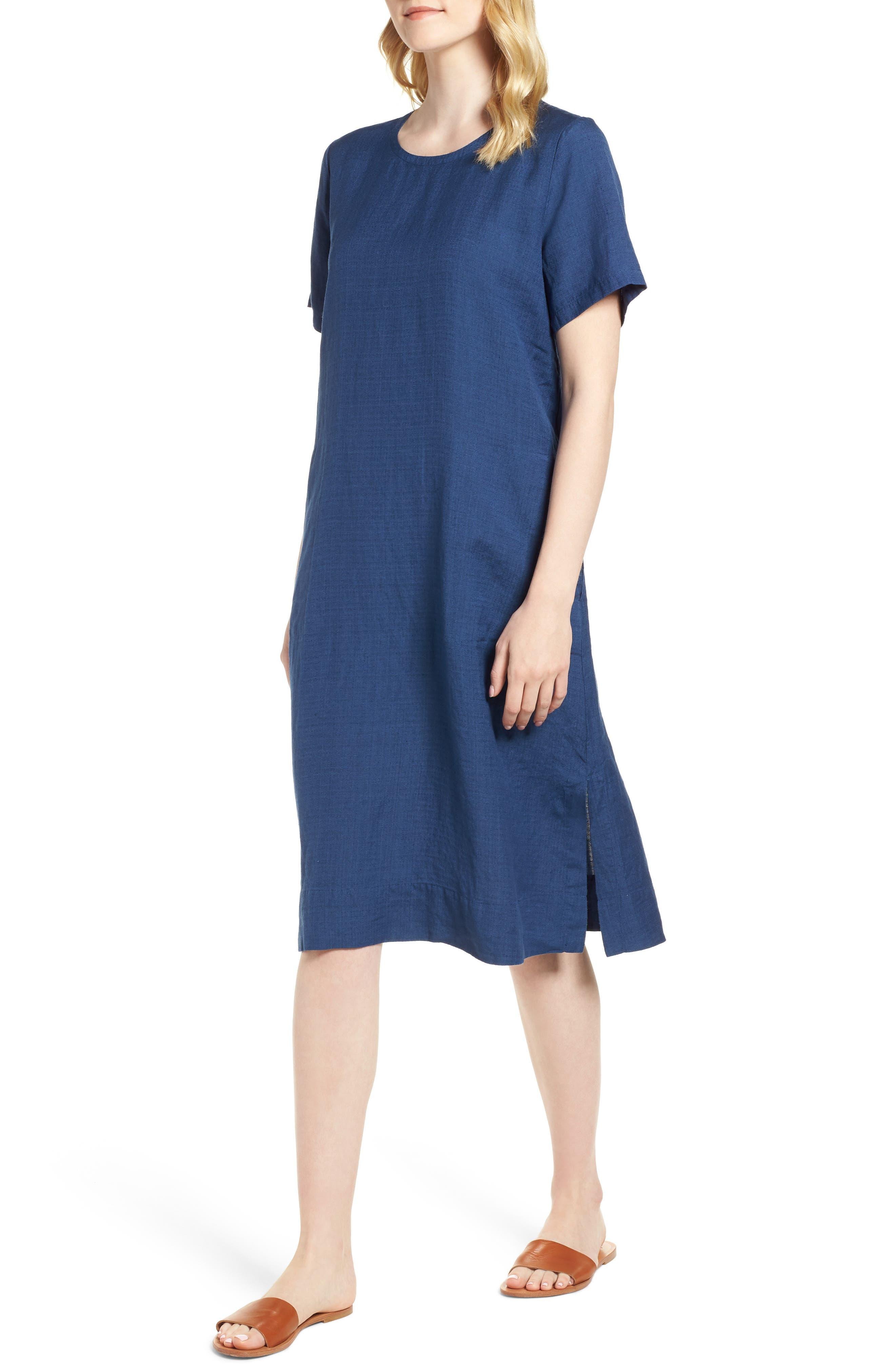 Linen Blend Shift Dress,                             Main thumbnail 1, color,                             480