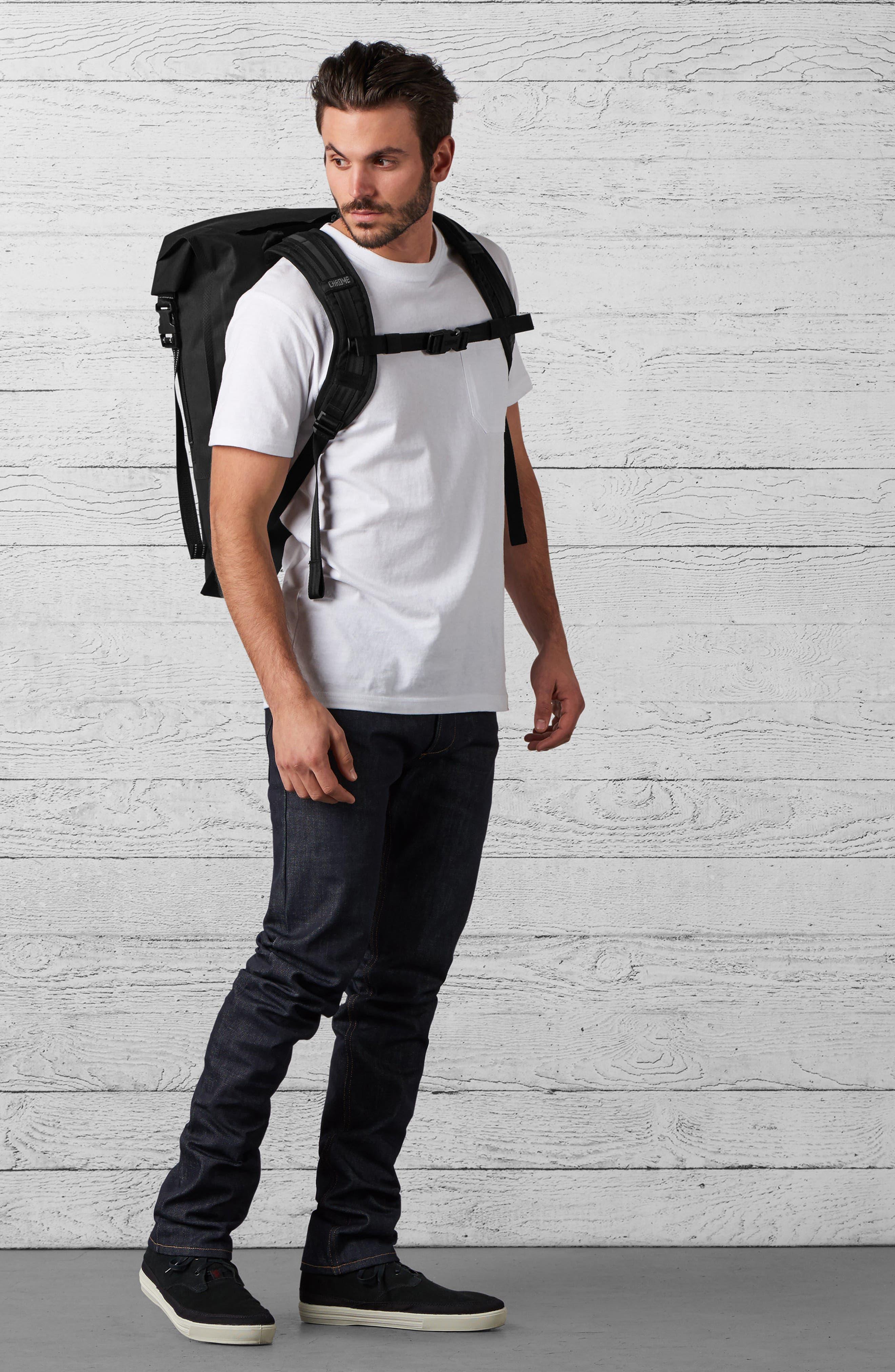 Urban Ex Rolltop Waterproof Backpack,                             Alternate thumbnail 8, color,                             BLACK/ BLACK