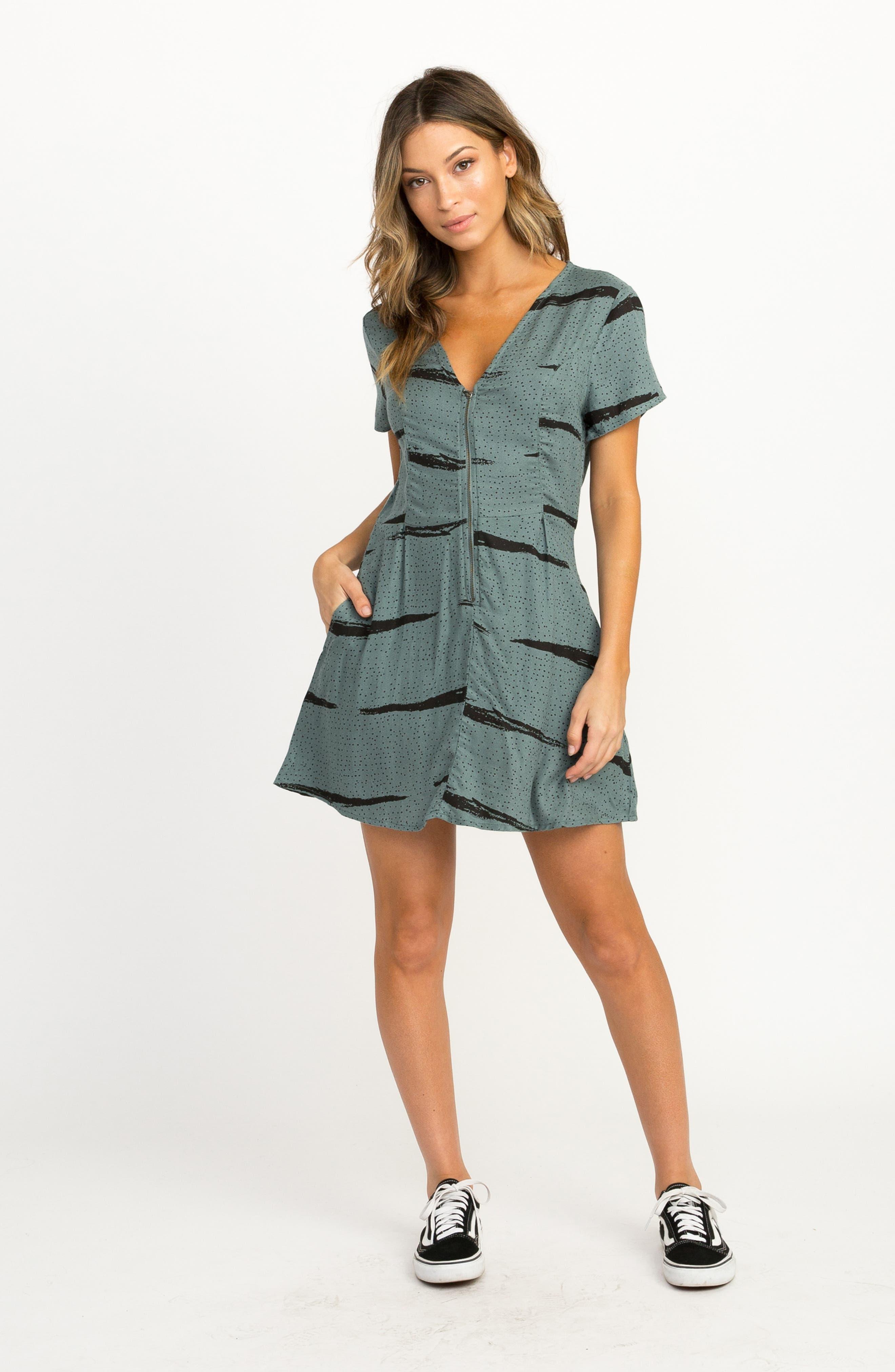 RVCA,                             Dawning Print Dress,                             Alternate thumbnail 6, color,                             382