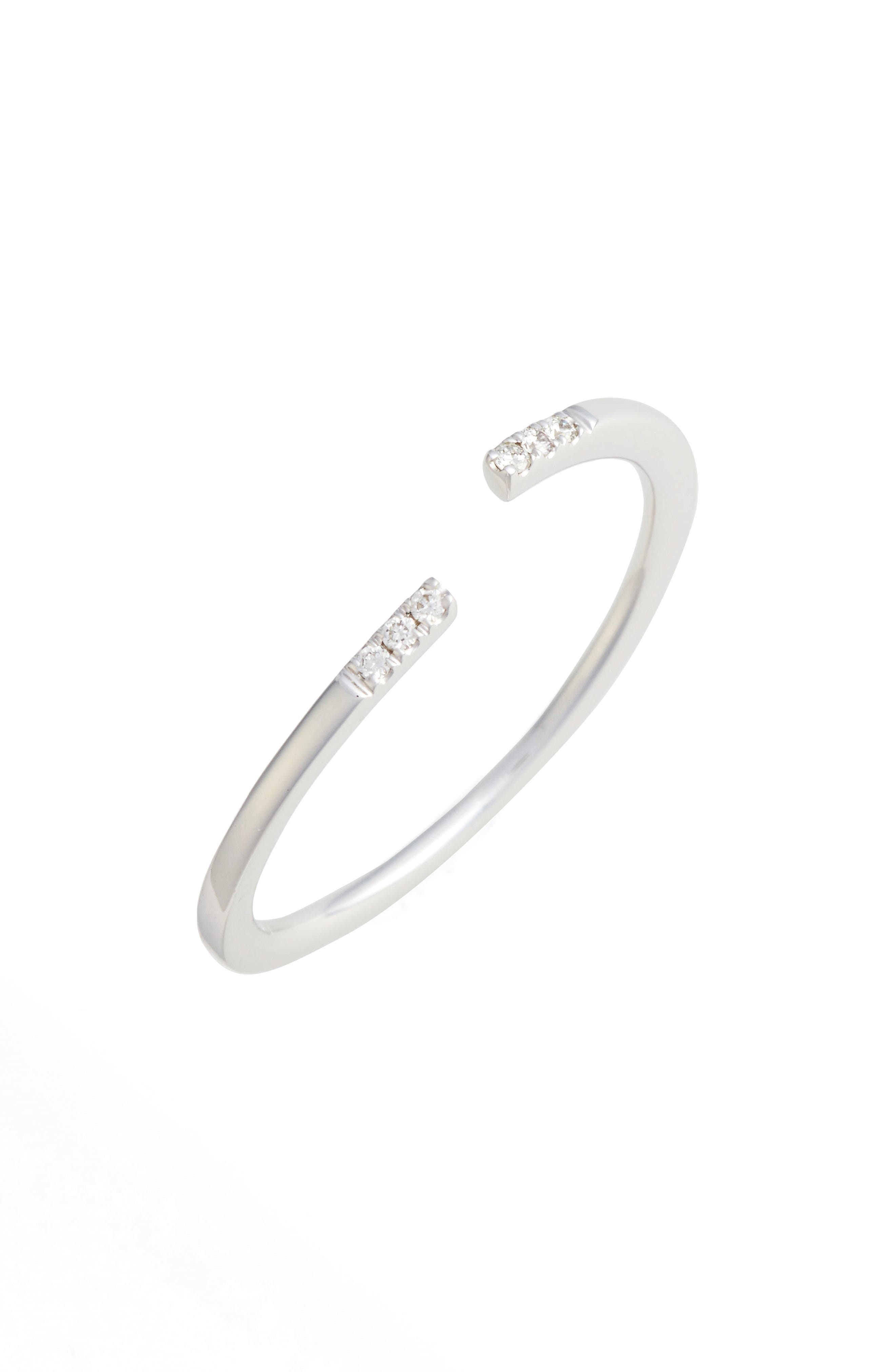Open Diamond Ring,                         Main,                         color, WHITE GOLD