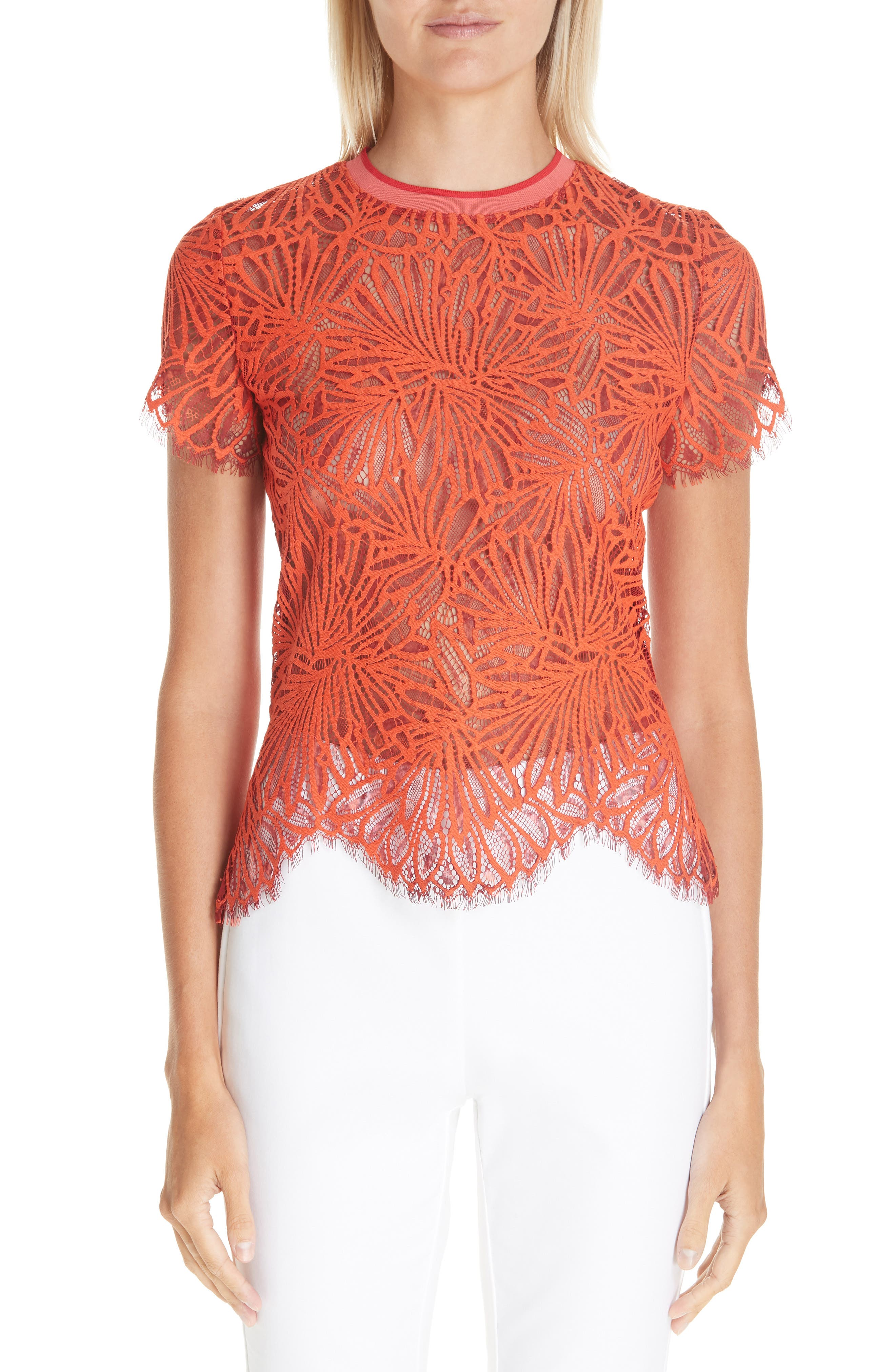 PROENZA SCHOULER,                             Scalloped Stretch Lace Top,                             Main thumbnail 1, color,                             TANGERINE