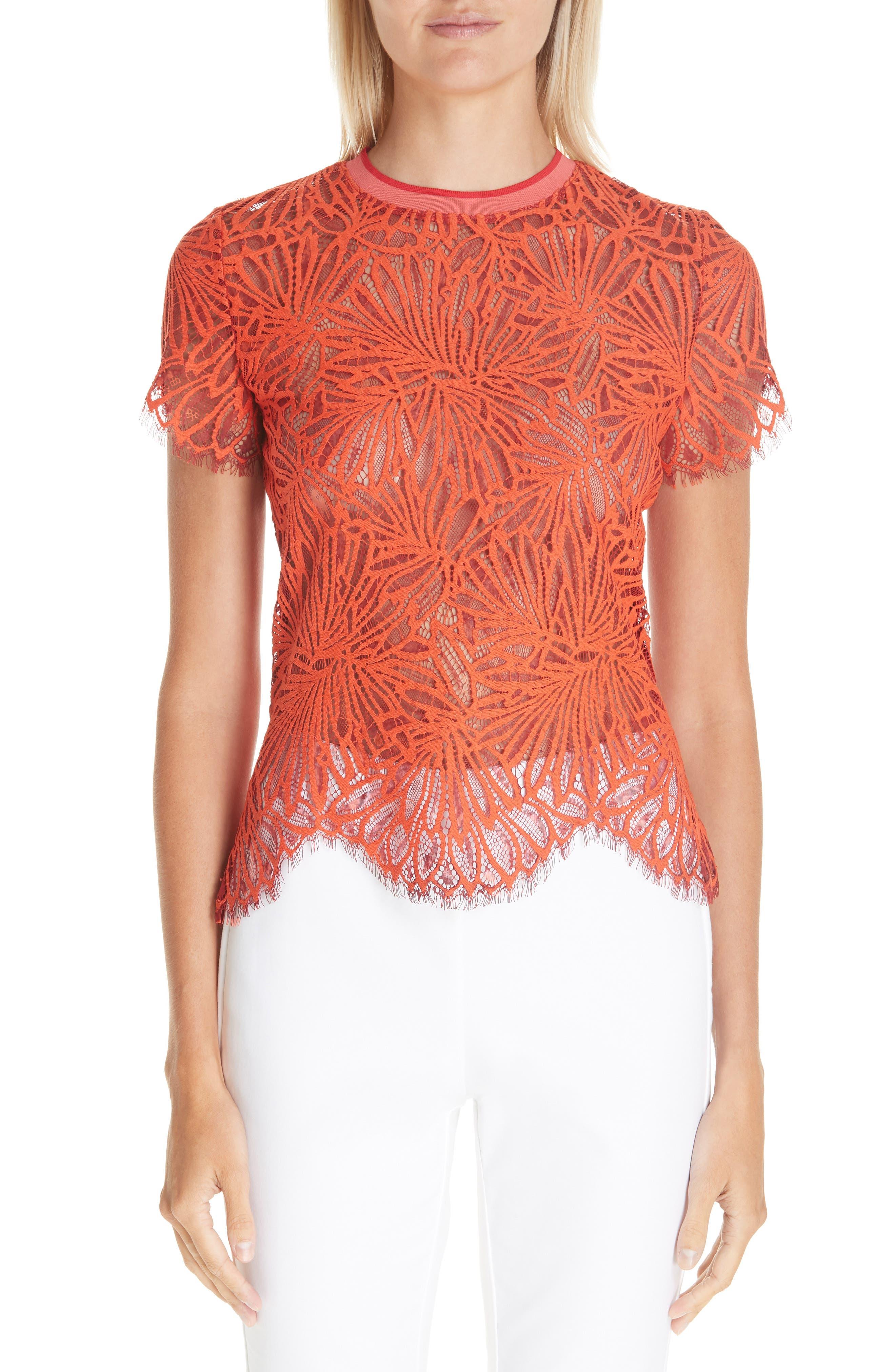 PROENZA SCHOULER Scalloped Stretch Lace Top, Main, color, TANGERINE
