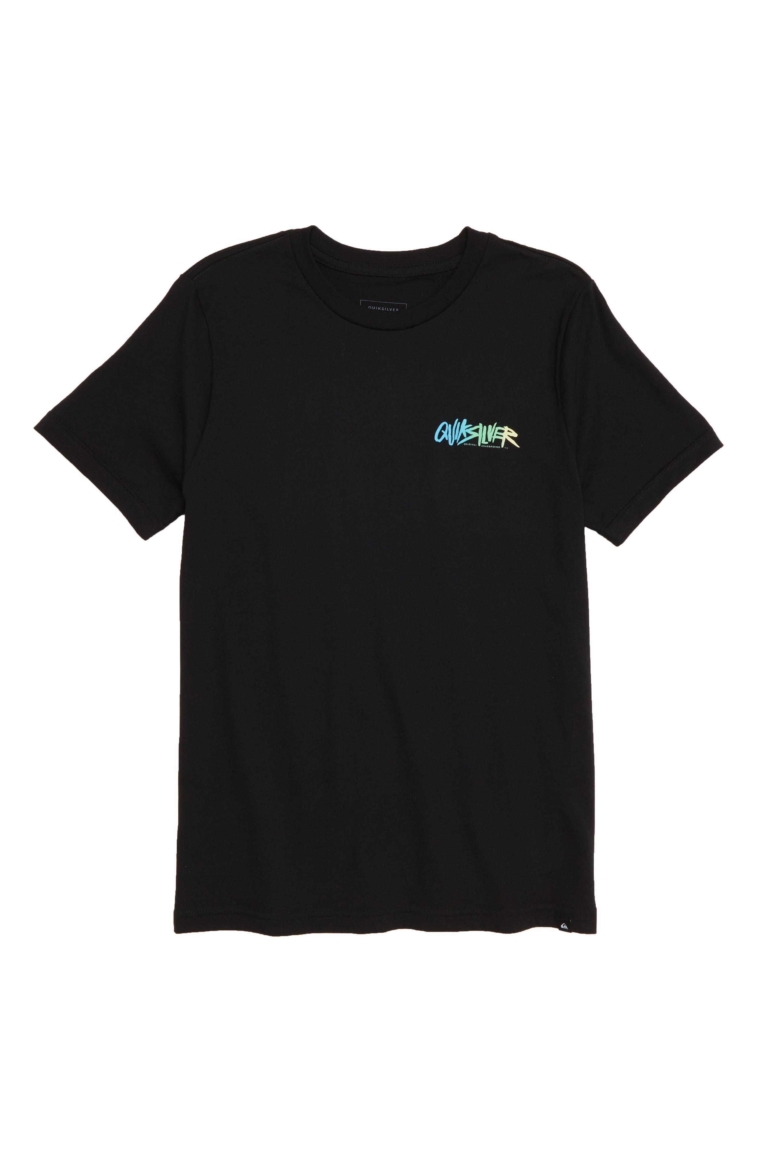 Rough Script Graphic T-Shirt,                             Main thumbnail 1, color,                             BLACK