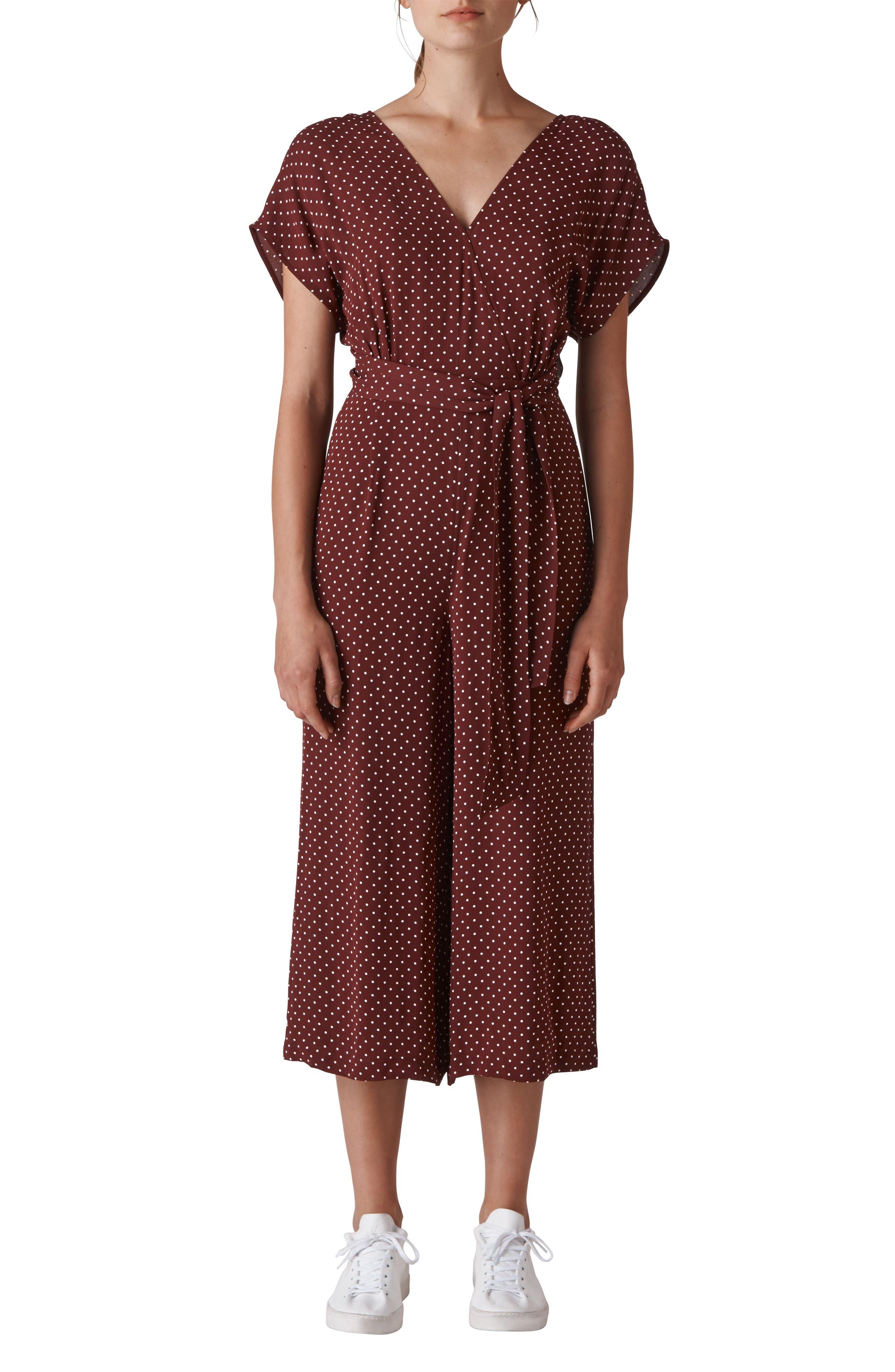 Margot Polka Dot Jumpsuit,                         Main,                         color, BURGUNDY