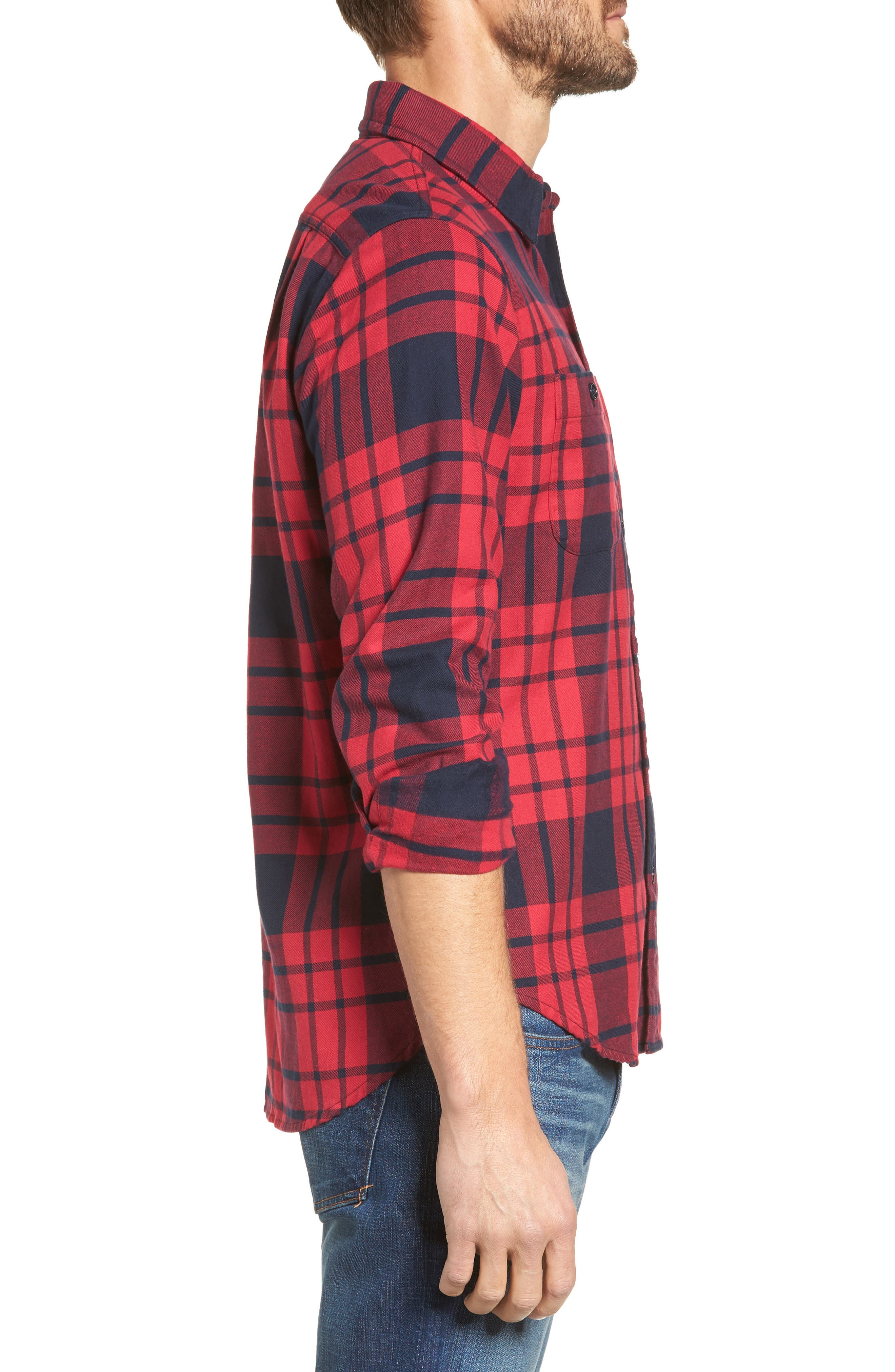 Slim Fit Plaid Flannel Shirt,                             Alternate thumbnail 3, color,