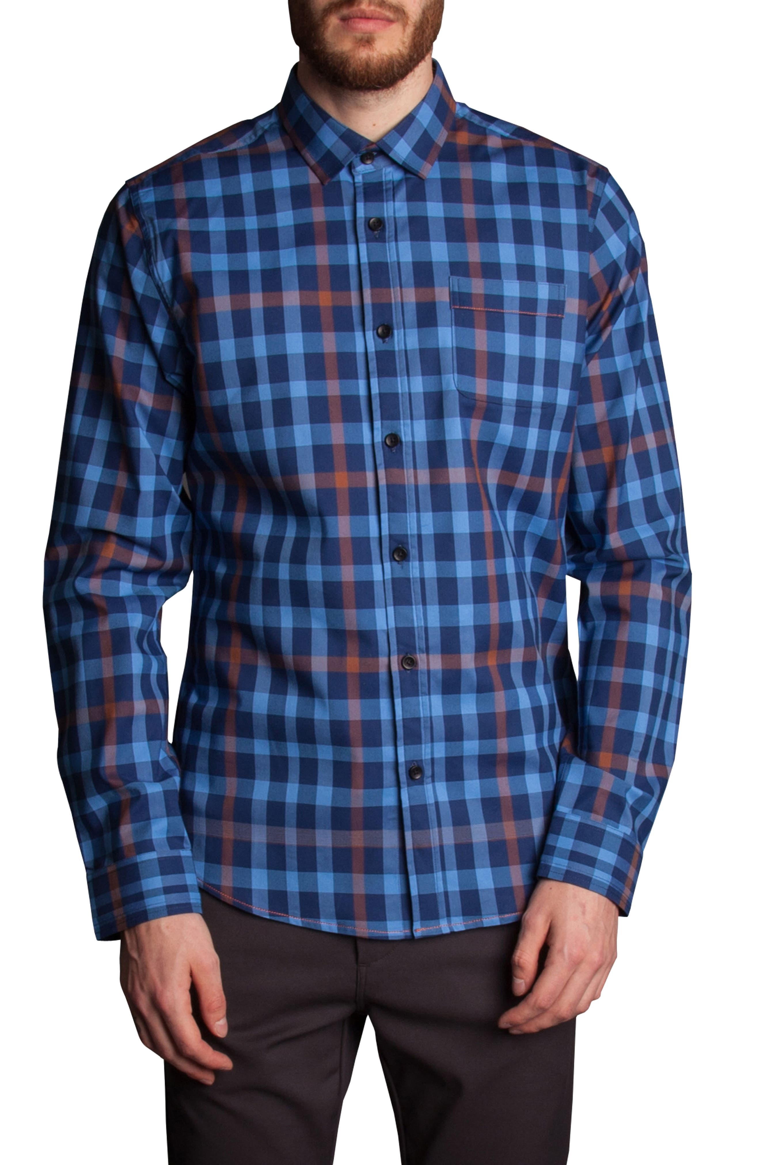 Plaid Sport Shirt,                         Main,                         color, 400
