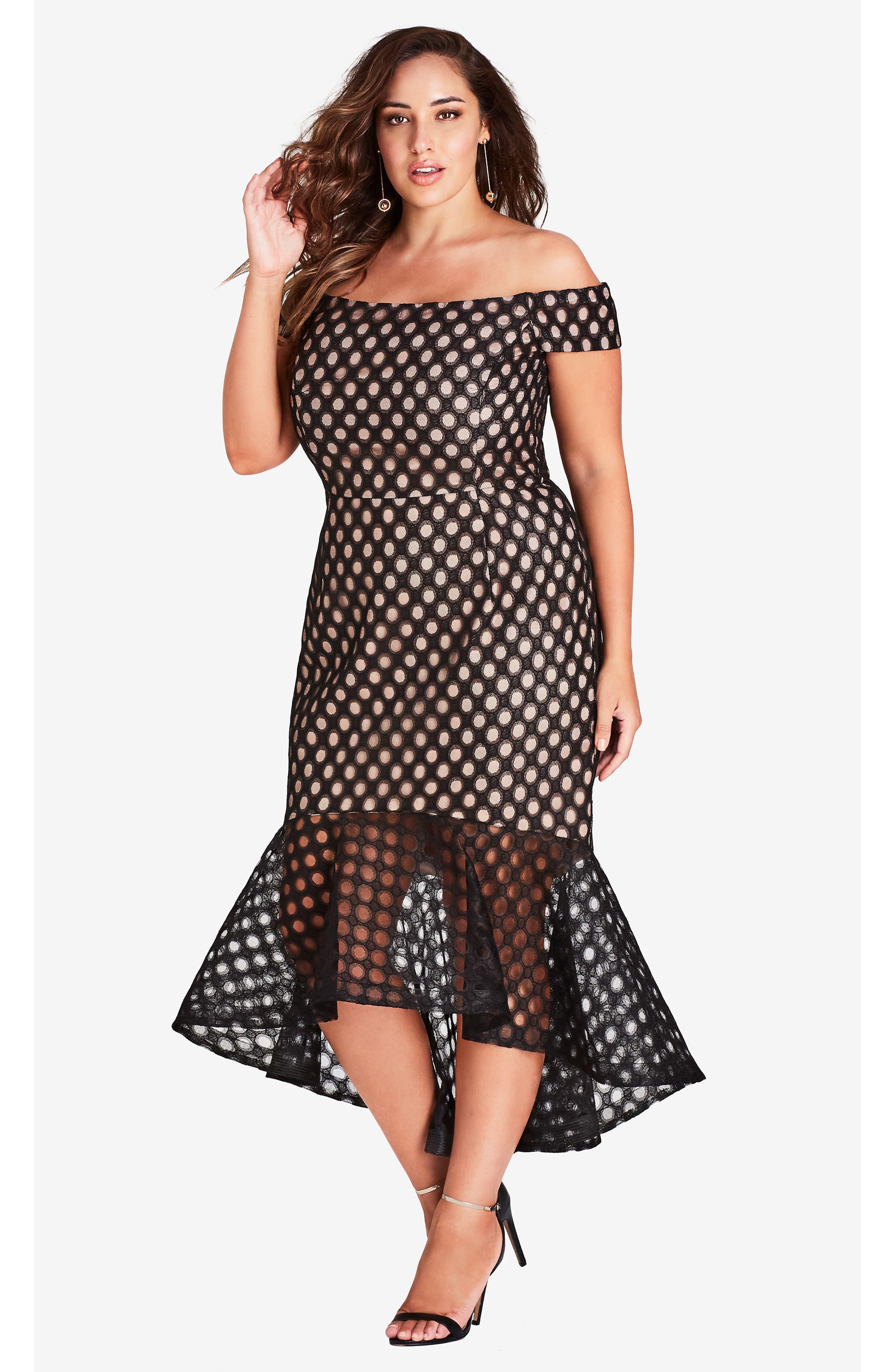 Envie Cold Shoulder Mesh Mermaid Dress,                             Alternate thumbnail 4, color,                             BLACK