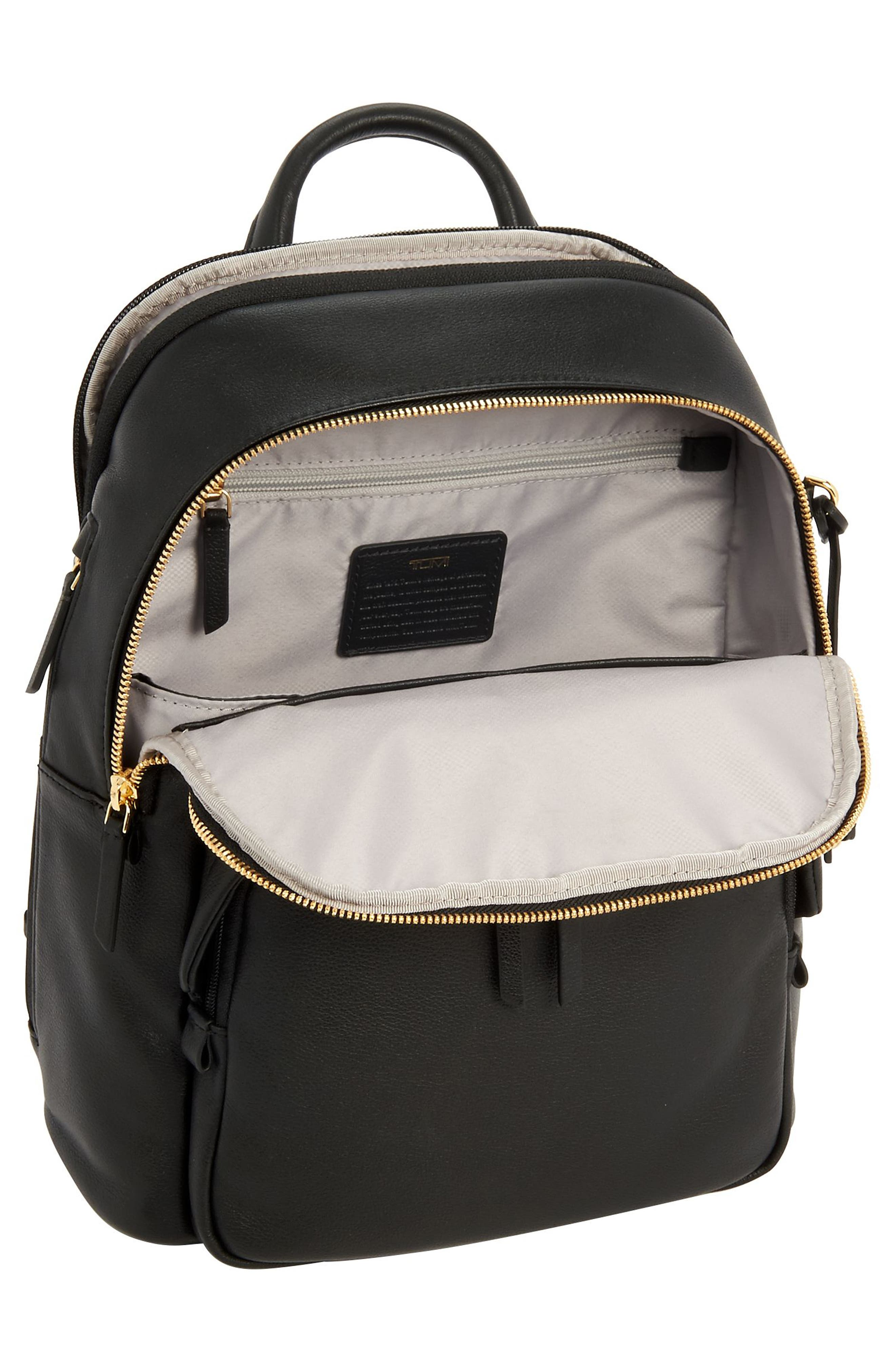 Voyageur - Dori Leather Backpack,                             Alternate thumbnail 4, color,                             BLACK