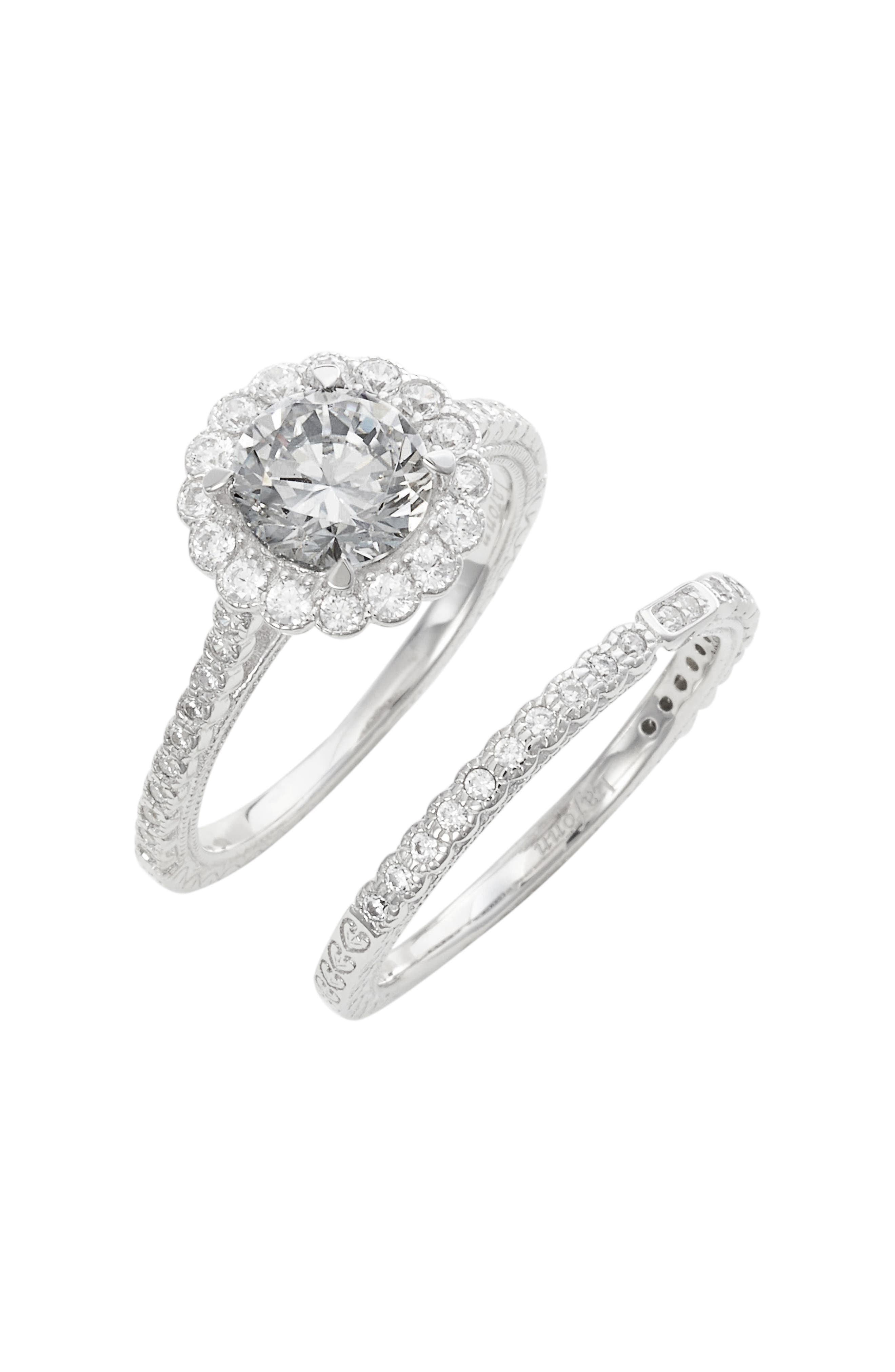 Simulated Diamond Engagement Ring and Band,                         Main,                         color,