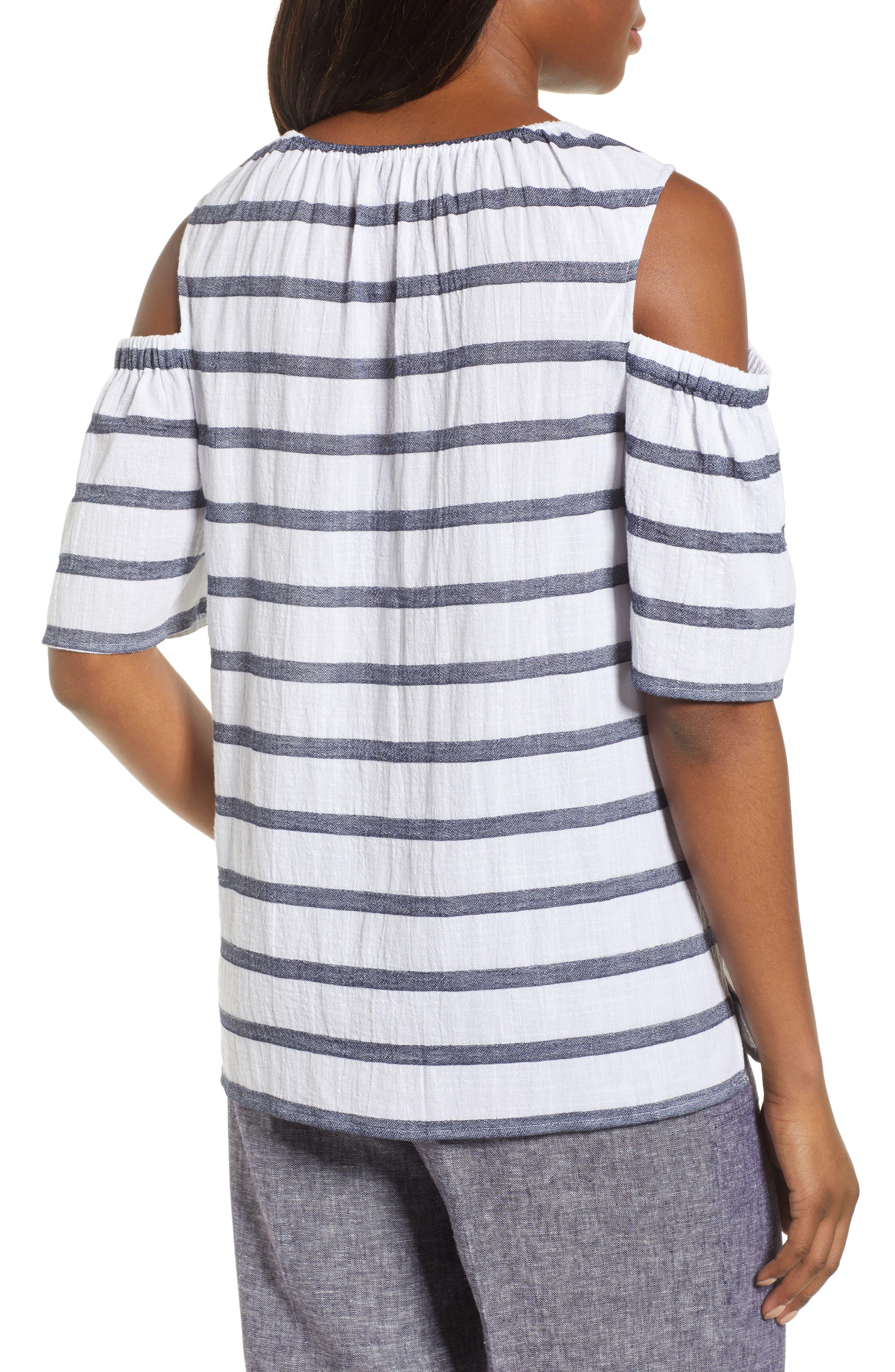 Stripe Cold Shoulder Cotton Gauze Top,                             Alternate thumbnail 2, color,                             NEW IVORY