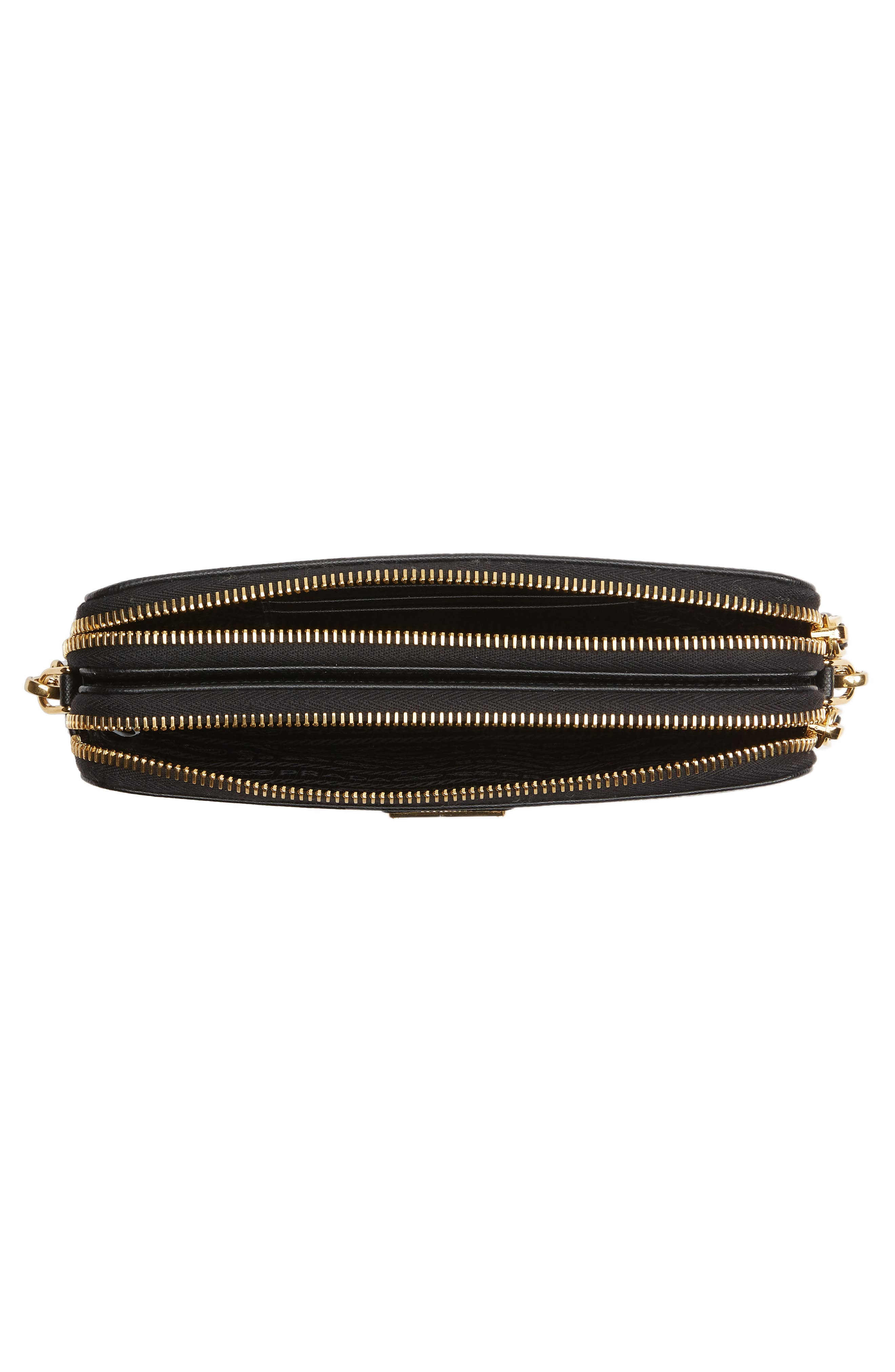 Small Double Compartment Zip Saffiano Leather Crossbody Bag,                             Alternate thumbnail 4, color,                             NERO