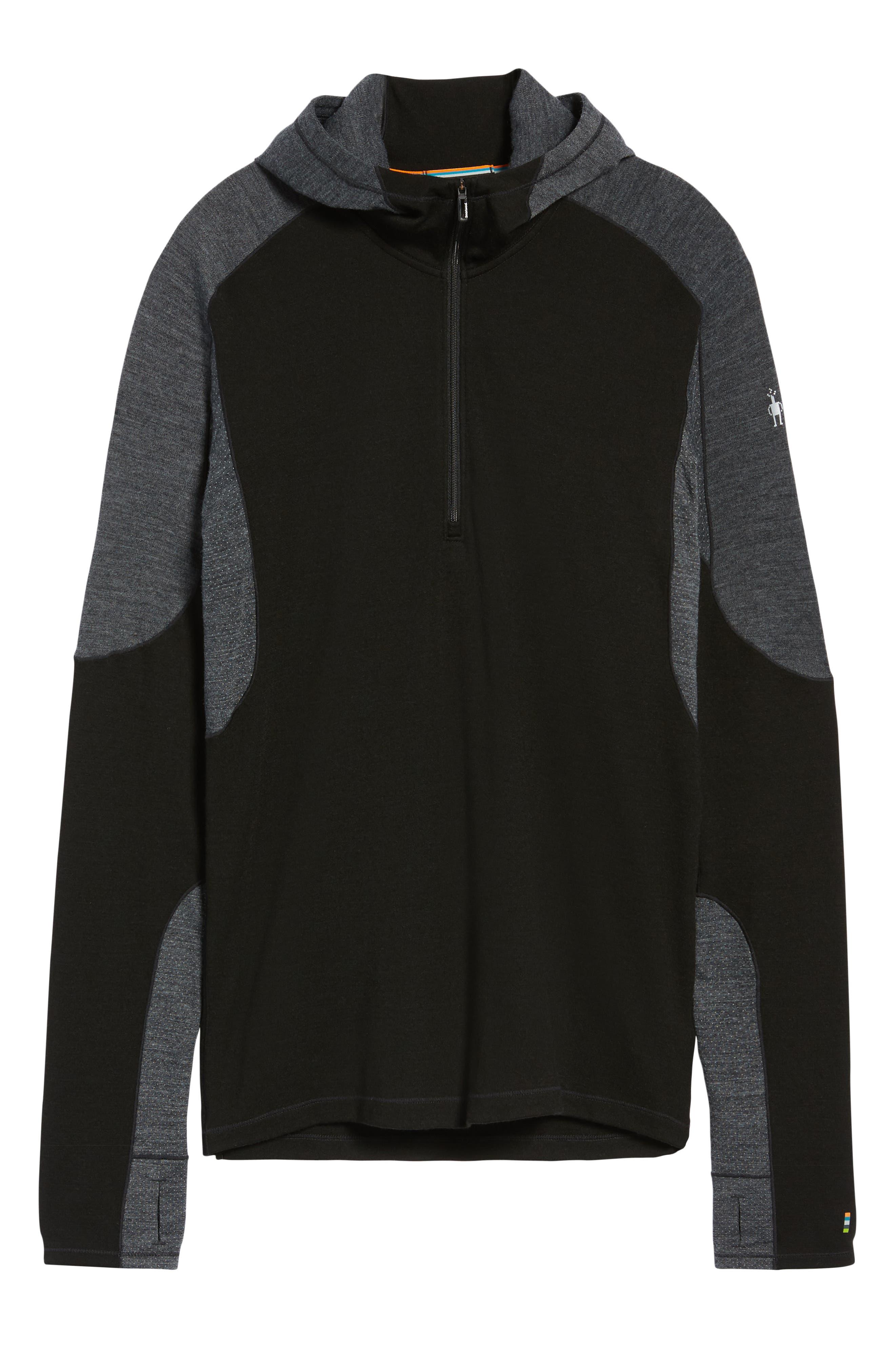PhD<sup>®</sup> Light Merino Wool Blend Hooded Pullover,                             Alternate thumbnail 6, color,                             BLACK