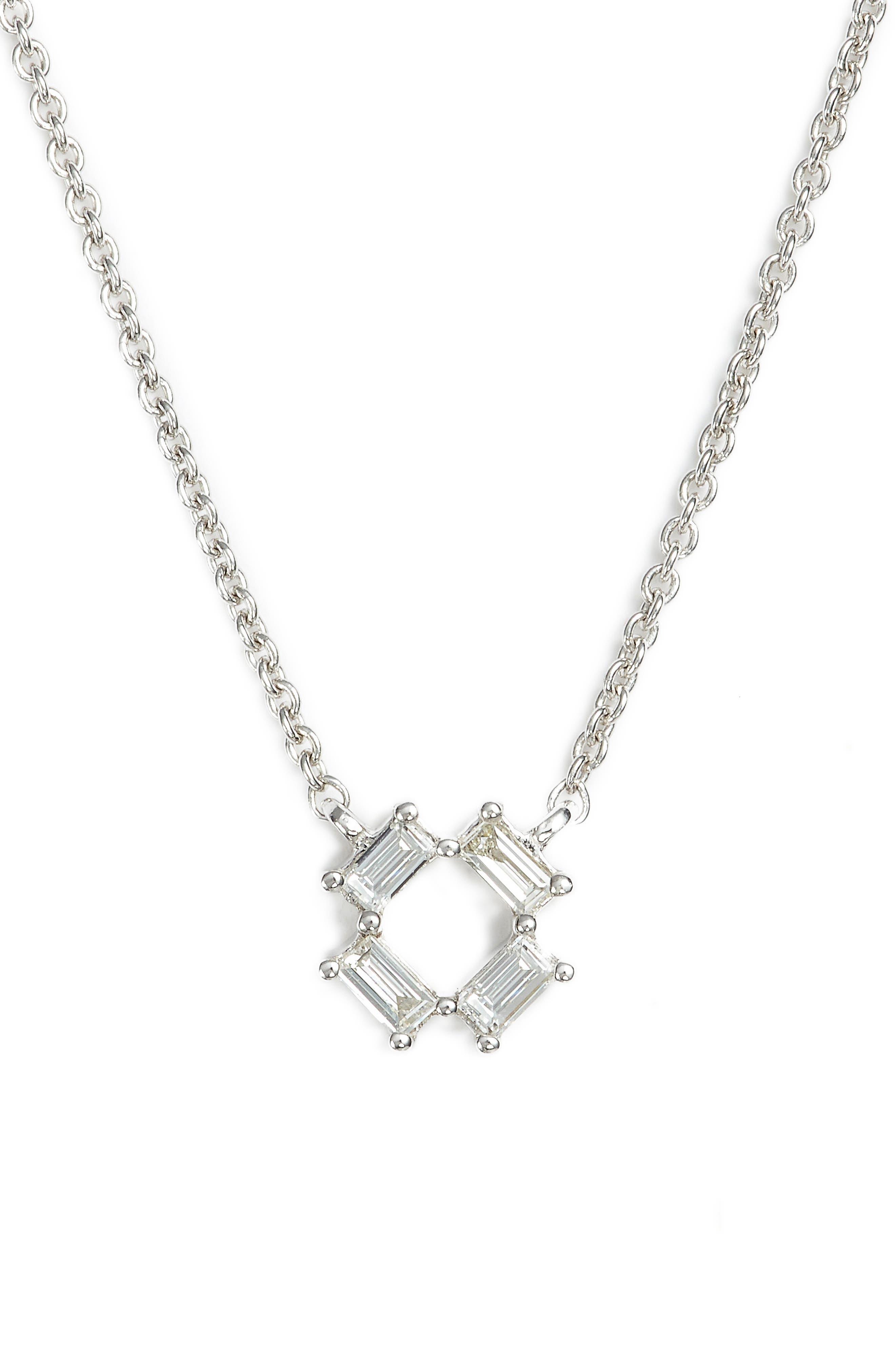 Sadie Diamond Pendant Necklace,                             Main thumbnail 1, color,                             WHITE GOLD
