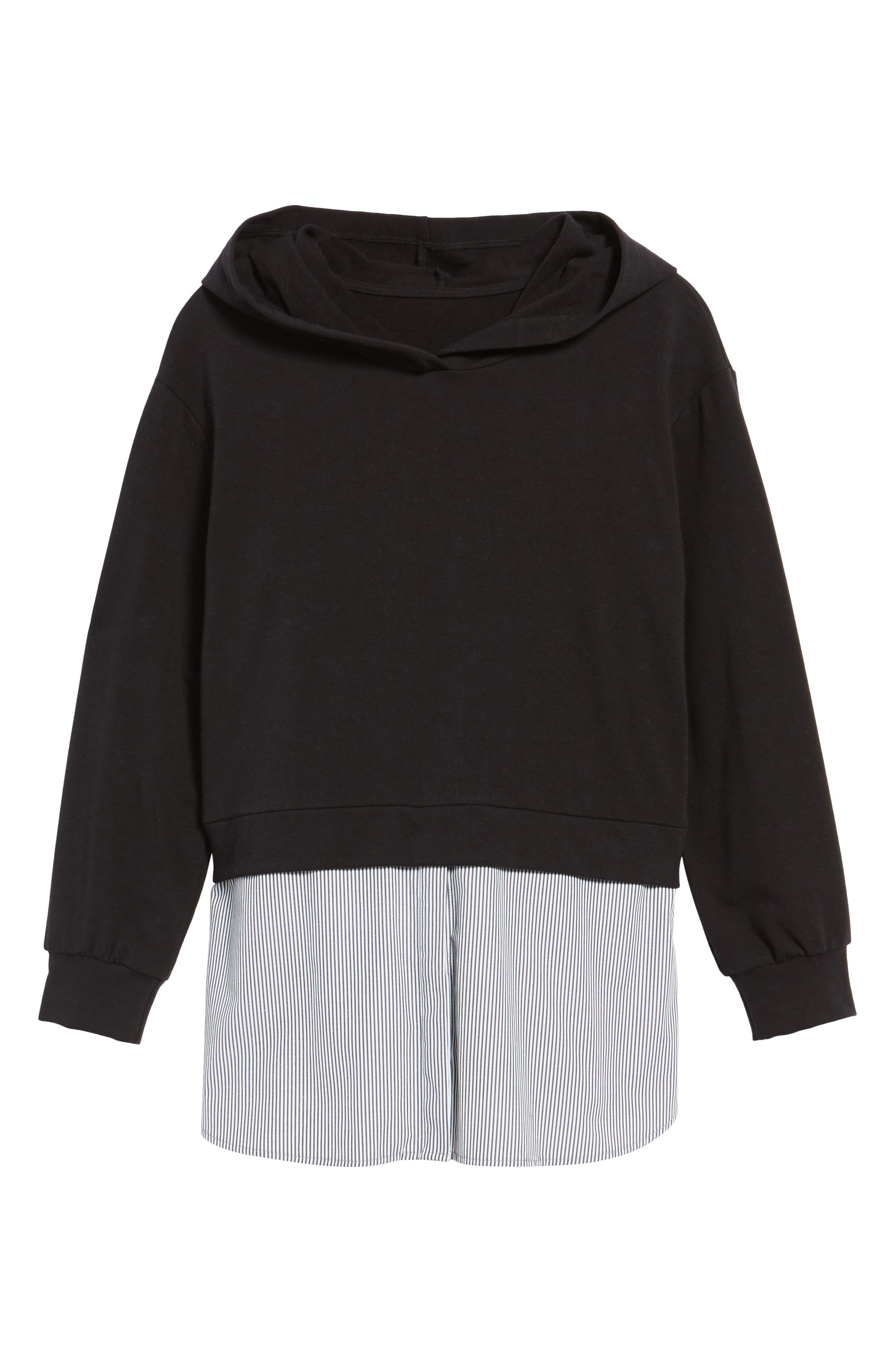 Layered Look Hoodie,                             Alternate thumbnail 6, color,                             001
