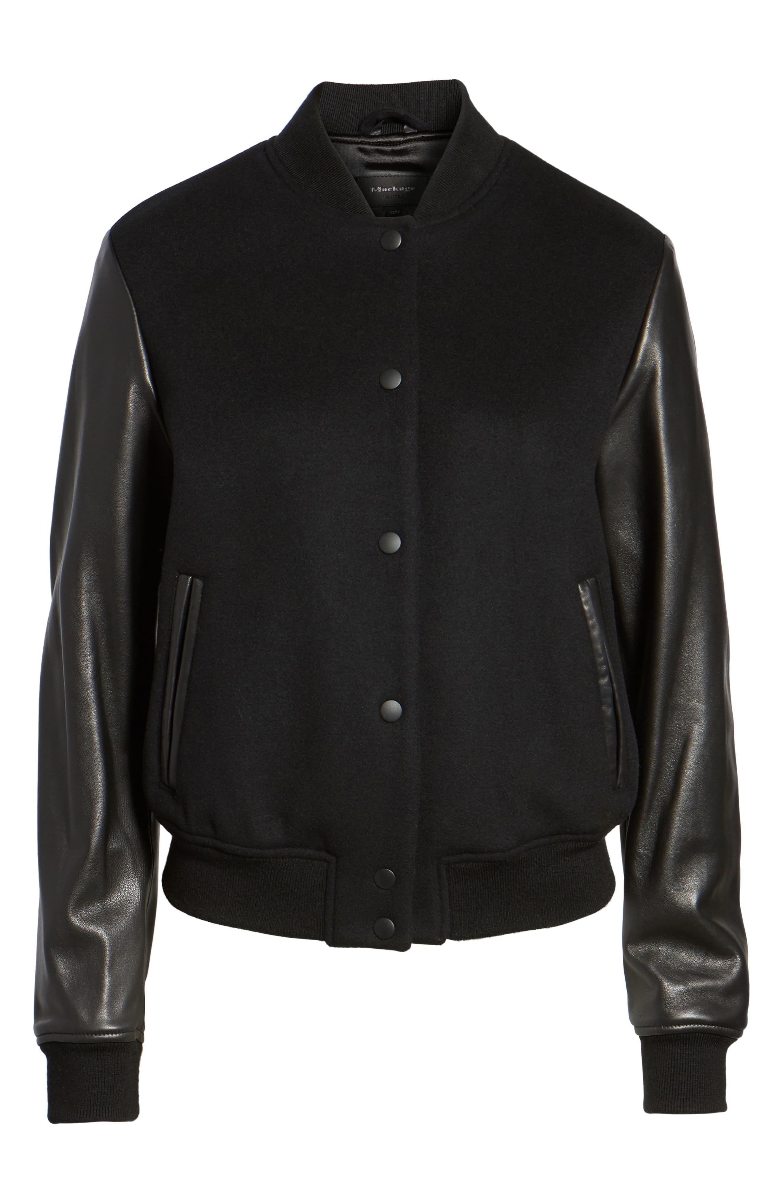 Leather Sleeve Varsity Jacket,                             Alternate thumbnail 5, color,                             001