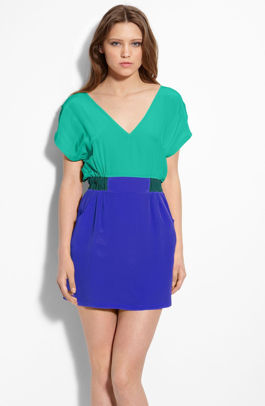 Colorblock Silk Dress, Main, color, 440