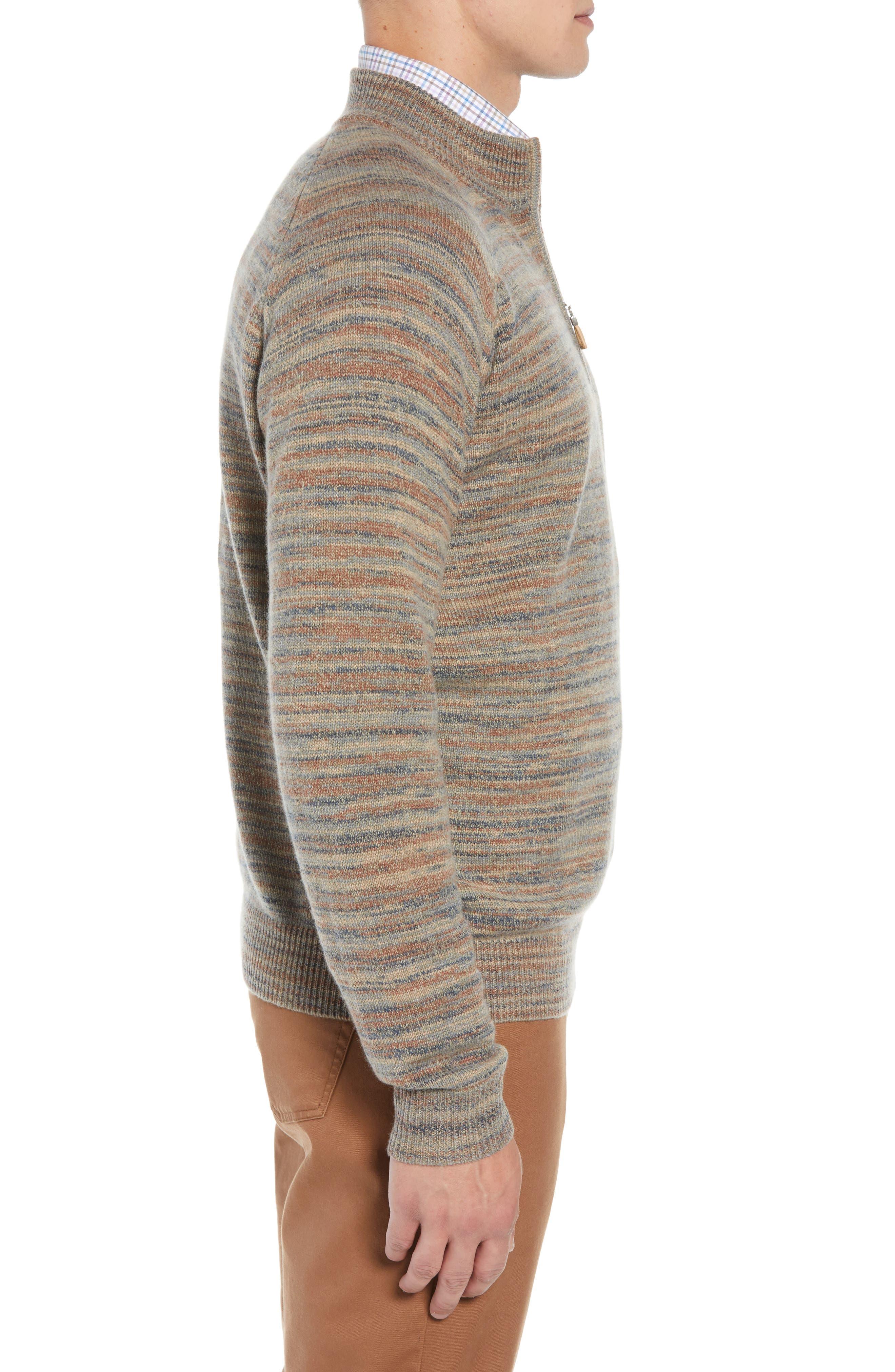 Twisted Cashmere Quarter Zip Sweater,                             Alternate thumbnail 3, color,                             BEIGE