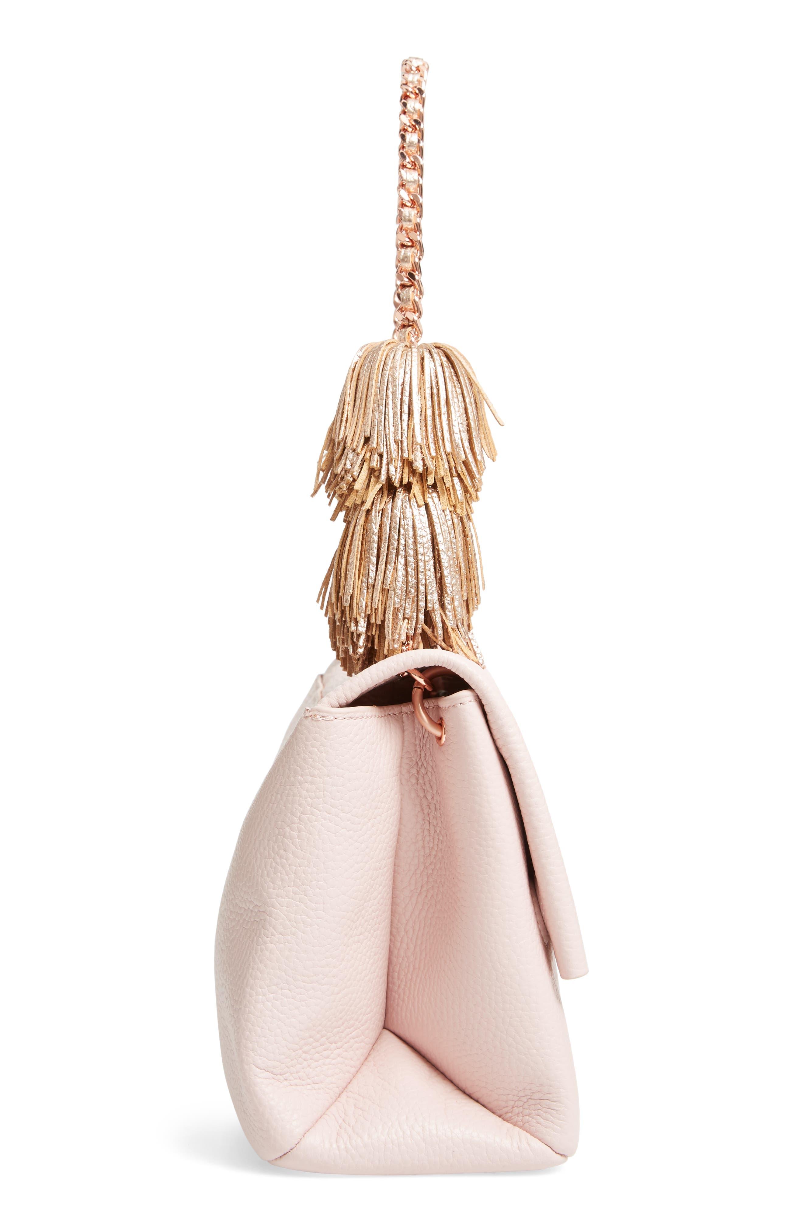 Melody Pom Leather Shoulder Bag,                             Alternate thumbnail 5, color,                             PALE PINK