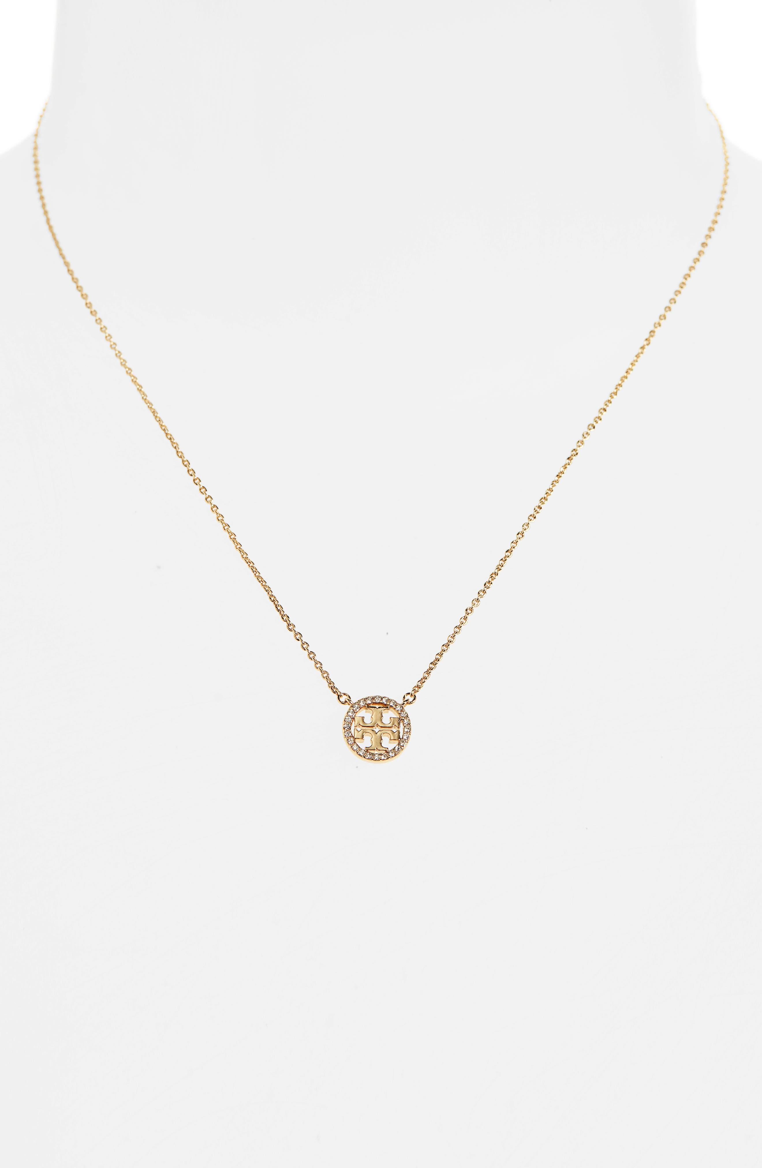 Pavé Logo Pendant Necklace,                             Alternate thumbnail 2, color,                             TORY GOLD/ CRYSTAL