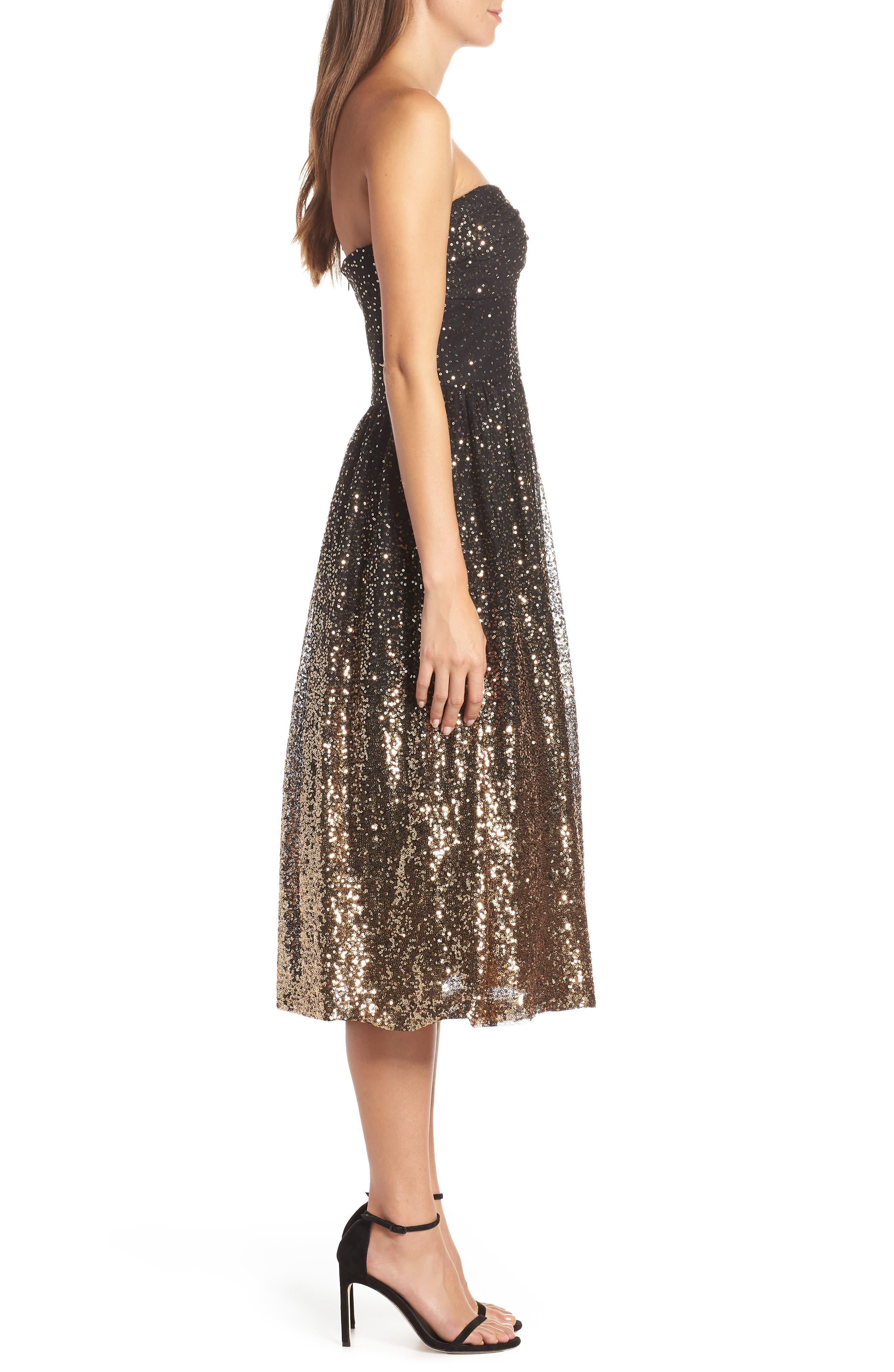 Strapless Midi Dress,                             Alternate thumbnail 3, color,                             BLACK GOLD