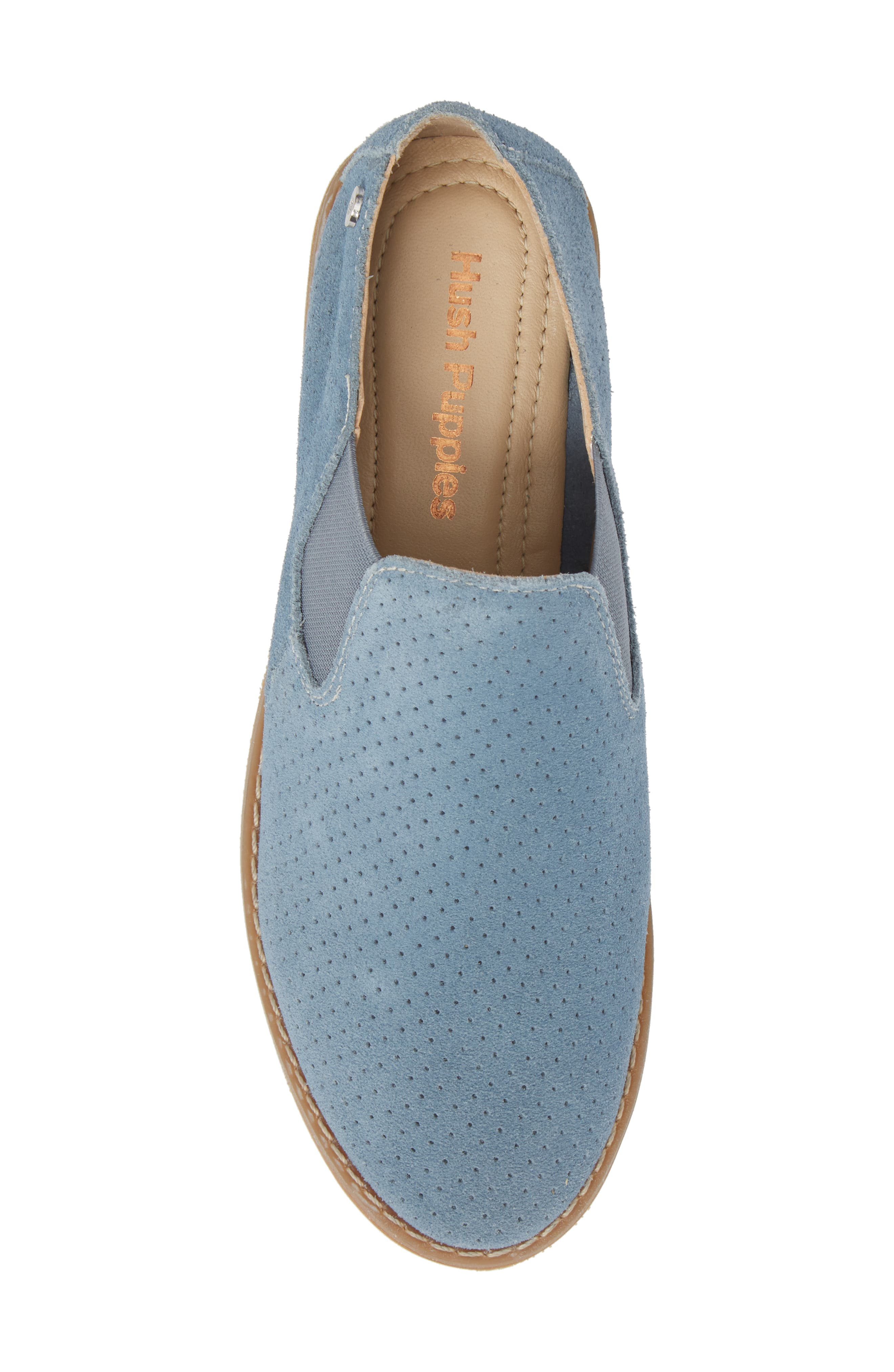 Hush Puppies Analise Clever Slip-On,                             Alternate thumbnail 5, color,                             VINTAGE INDIGO SUEDE
