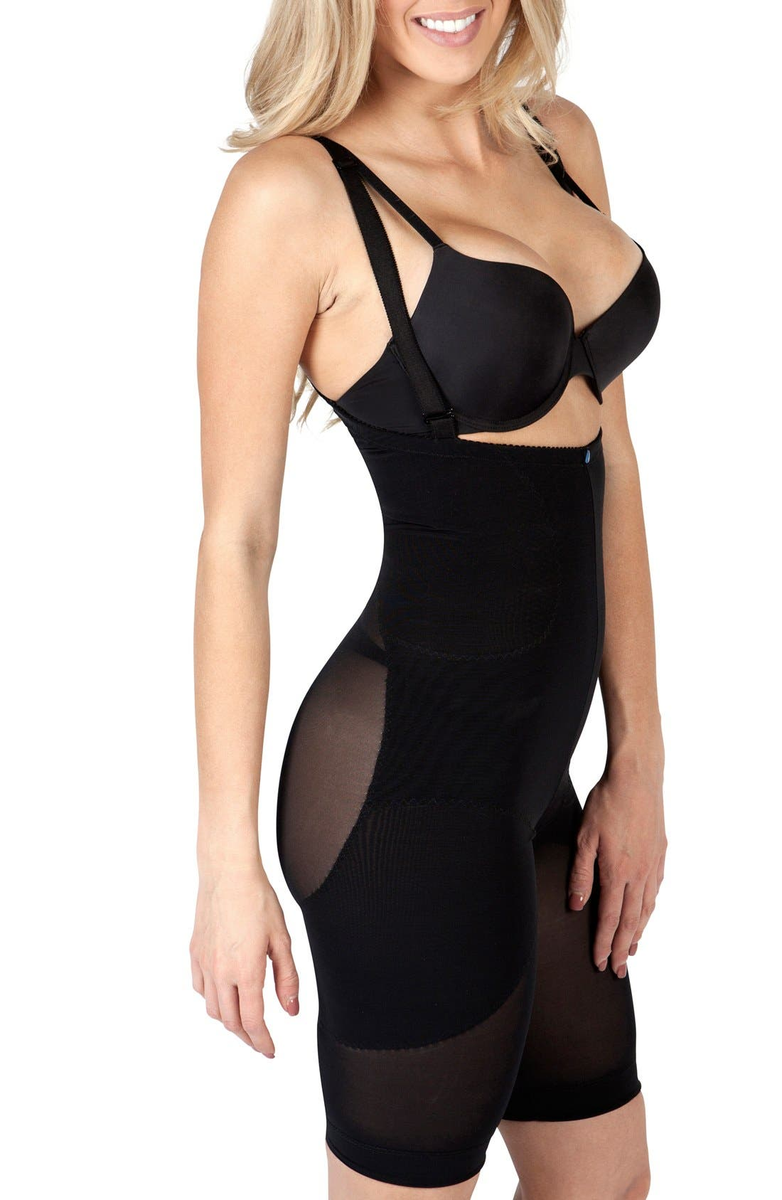 'Leilani' Body Shaping Garment,                             Alternate thumbnail 3, color,                             BLACK