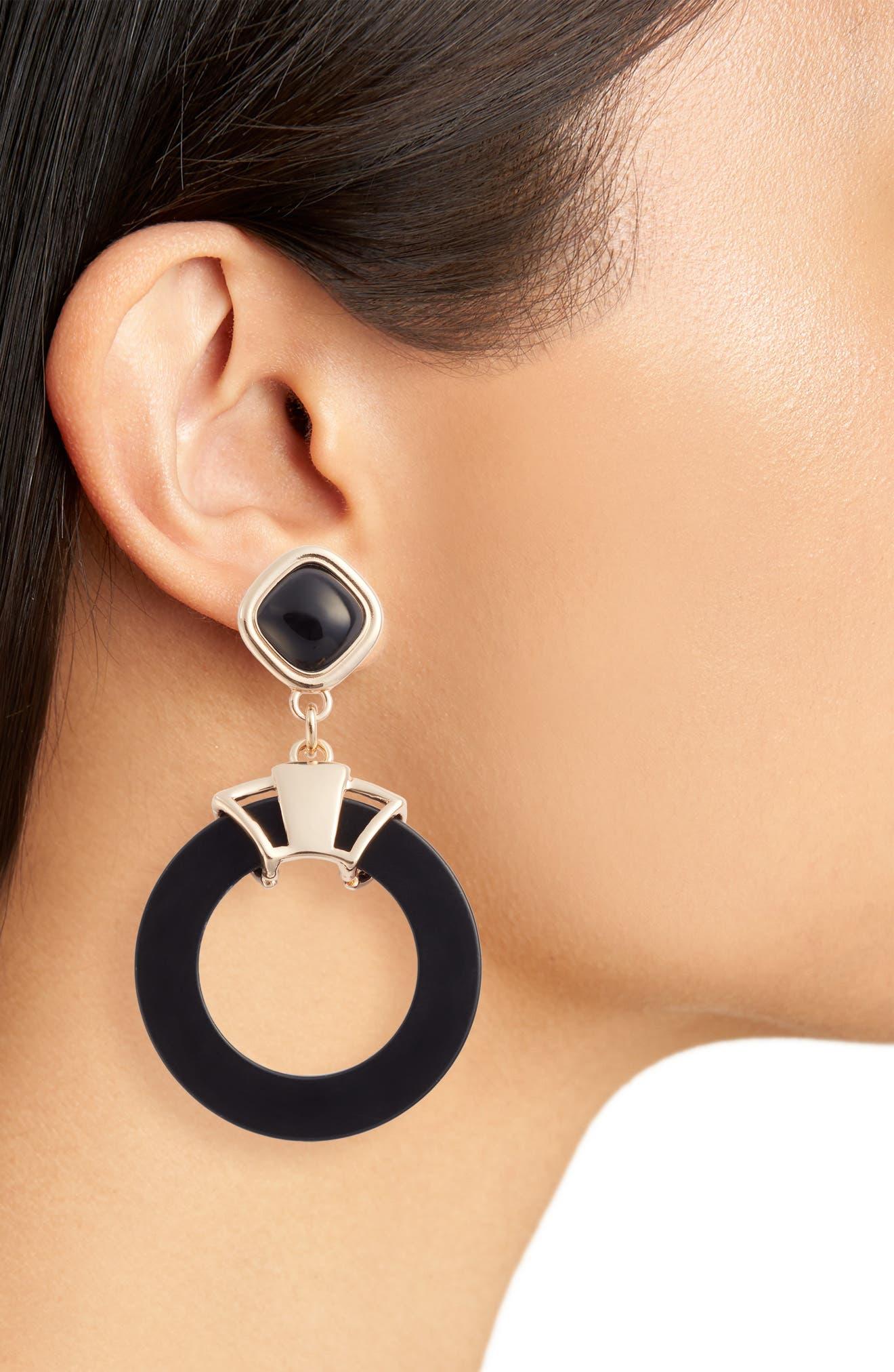 Stone Circle Earrings,                             Alternate thumbnail 2, color,                             001