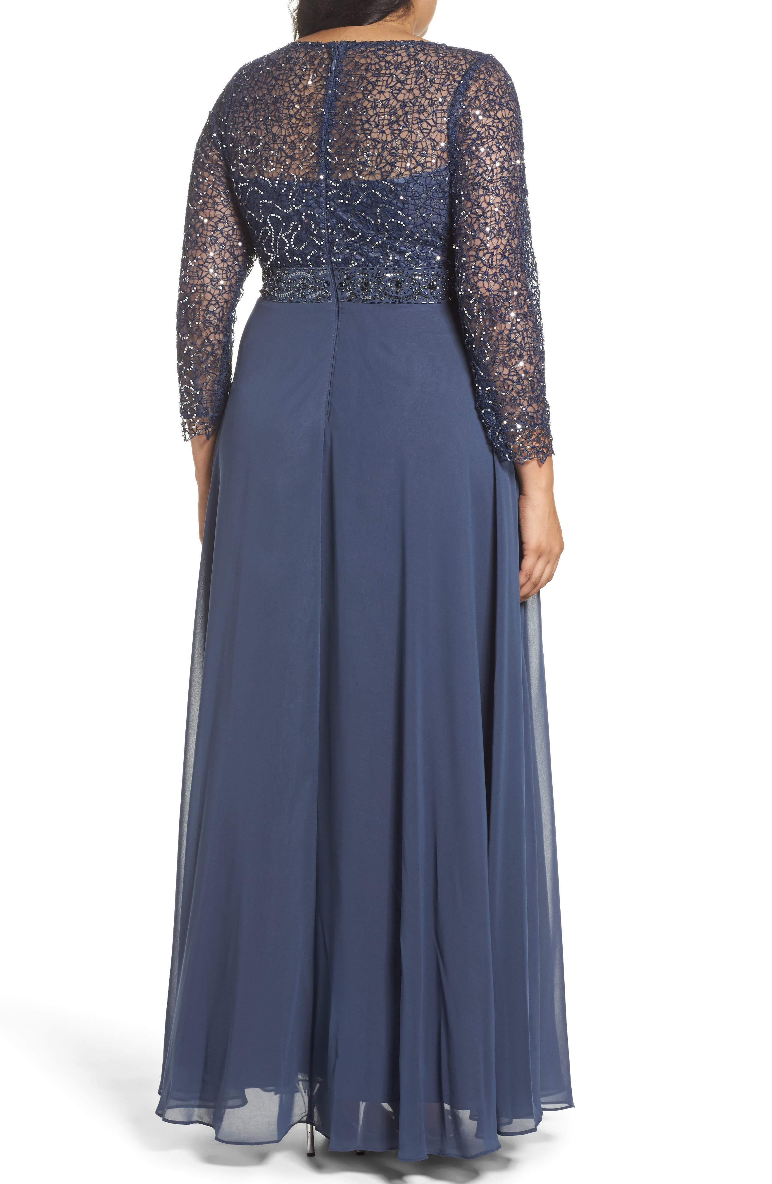 Embellished A-Line Chiffon Gown,                             Alternate thumbnail 2, color,                             458