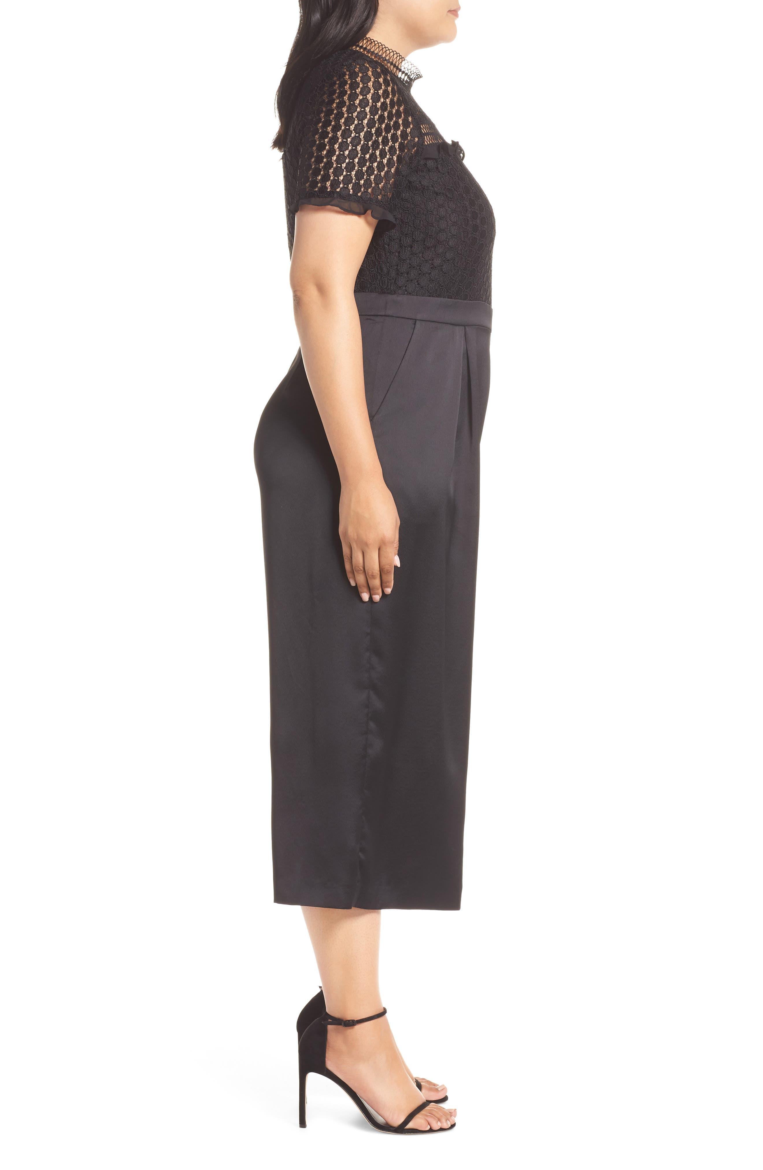 Lace Crop Jumpsuit,                             Alternate thumbnail 3, color,                             BLACK