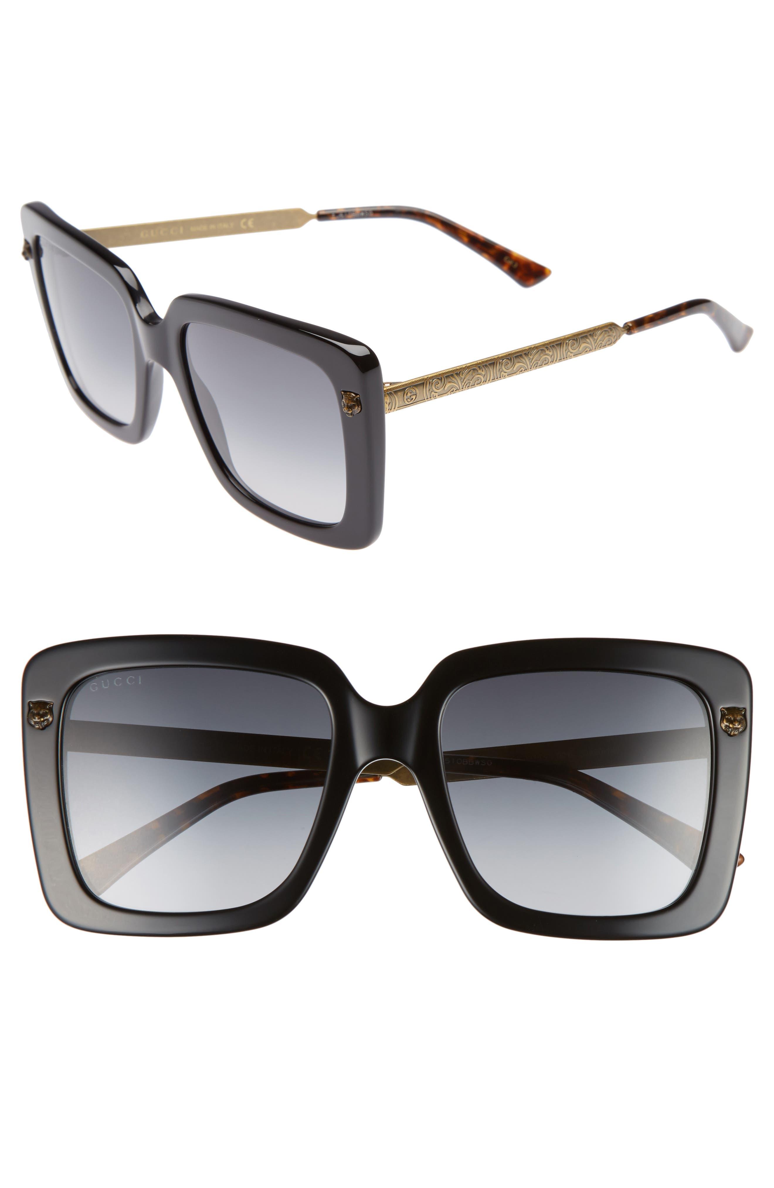 53mm Square Sunglasses,                             Main thumbnail 1, color,                             BLACK