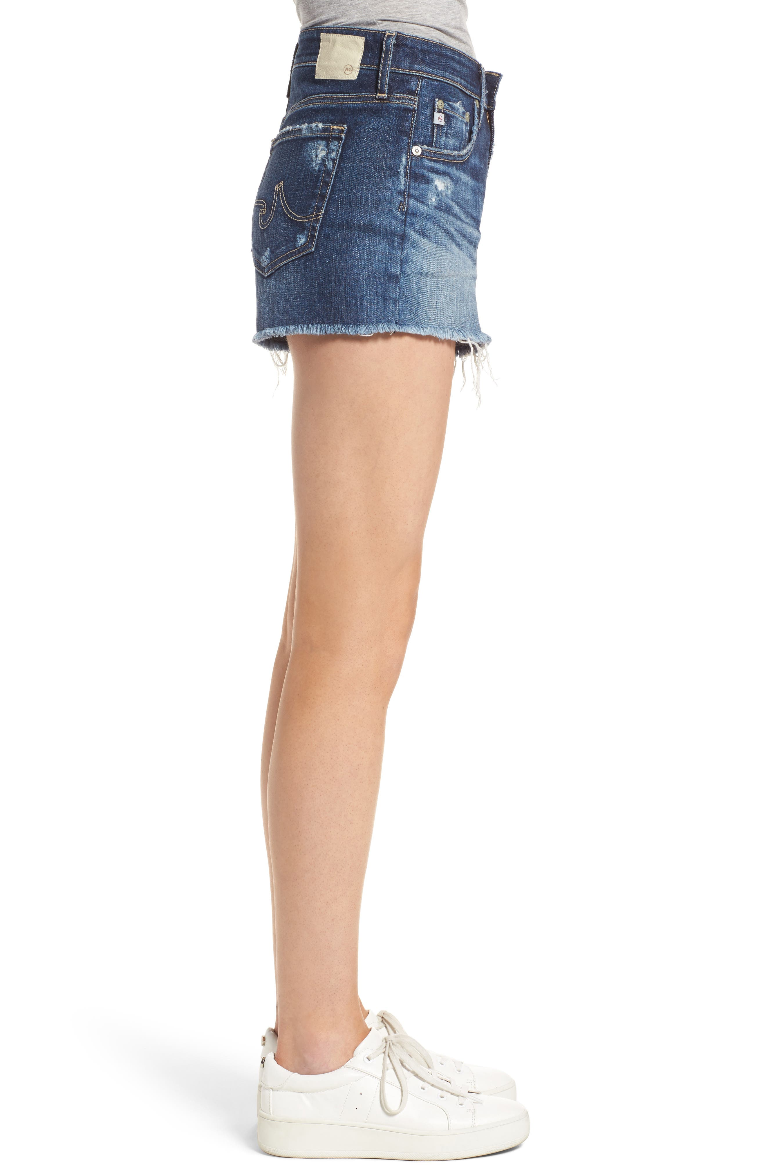 Bryn High Rise Cutoff Denim Shorts,                             Alternate thumbnail 3, color,                             15Y BLUE DELUGE